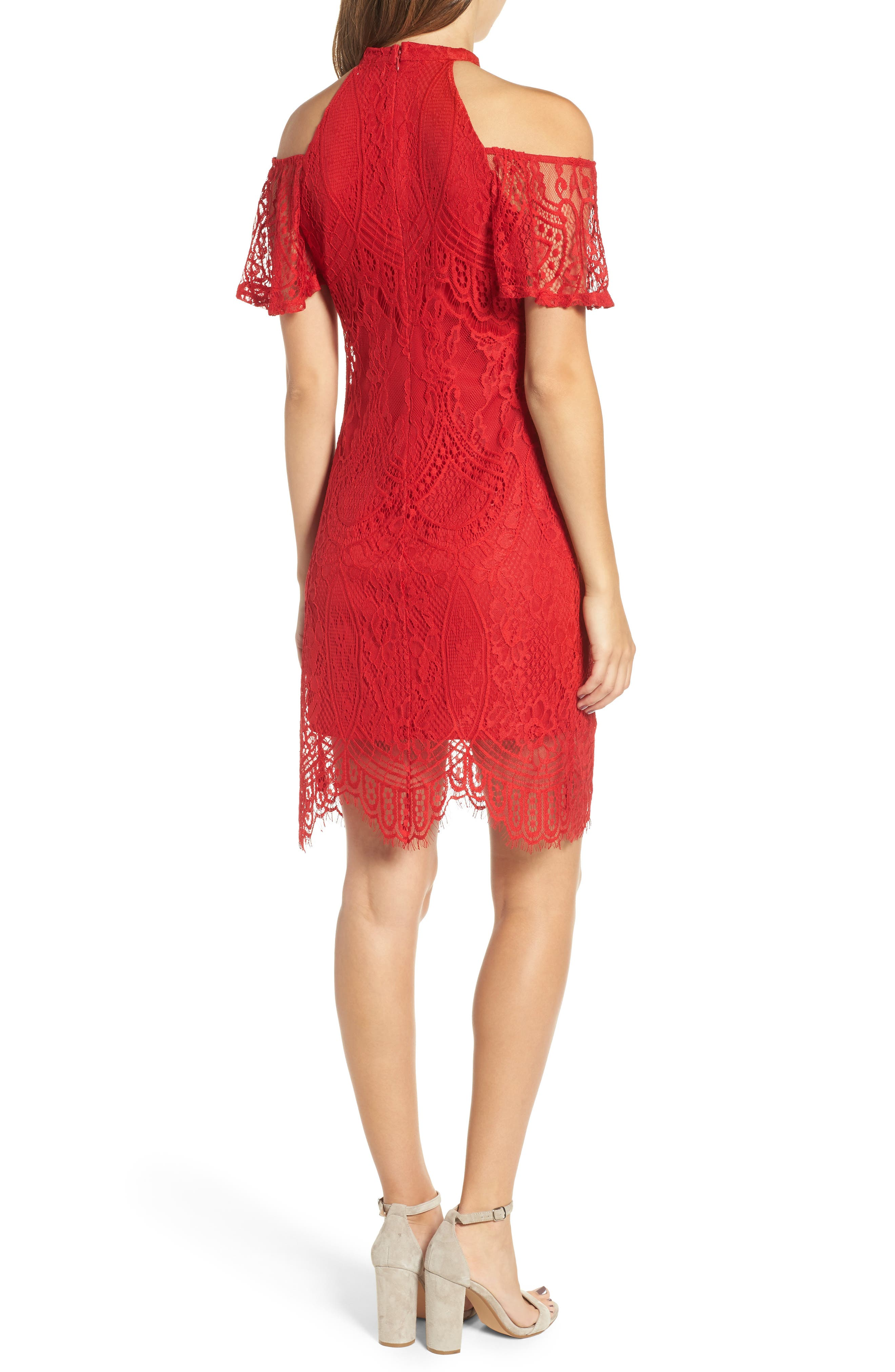 Lace Cold Shoulder Dress,                             Alternate thumbnail 2, color,                             Holly Red