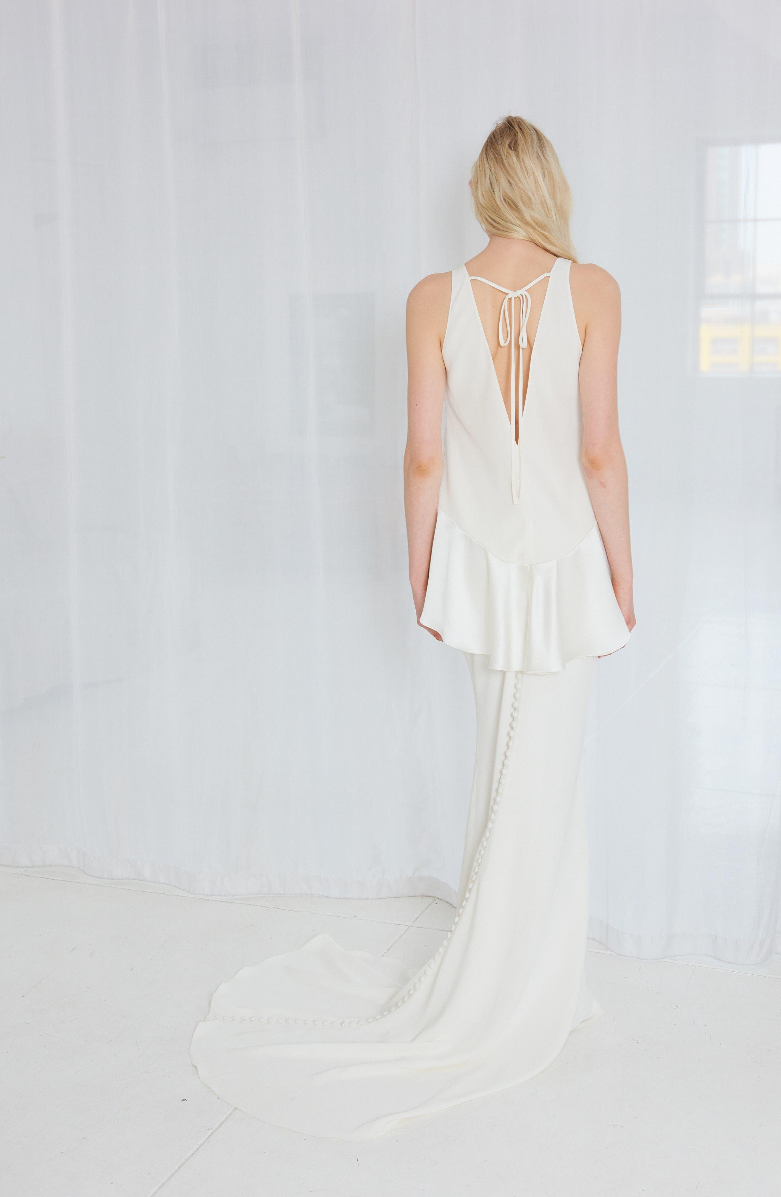 Alternate Image 2  - Amsale Sia Satin Two-Piece Gown