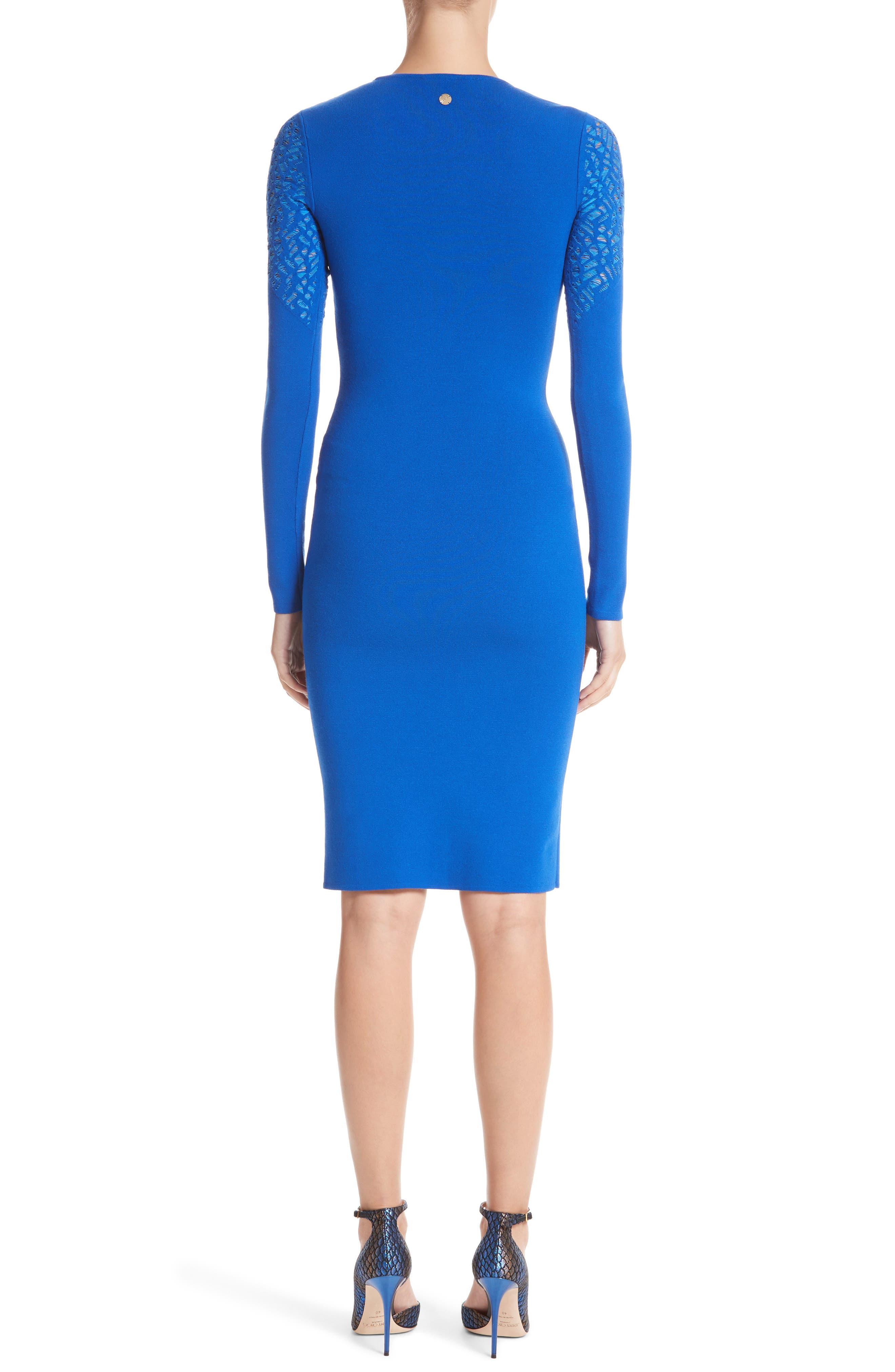 Contrast Stitch Knit Dress,                             Alternate thumbnail 2, color,                             Royal Blue/ Light Blue