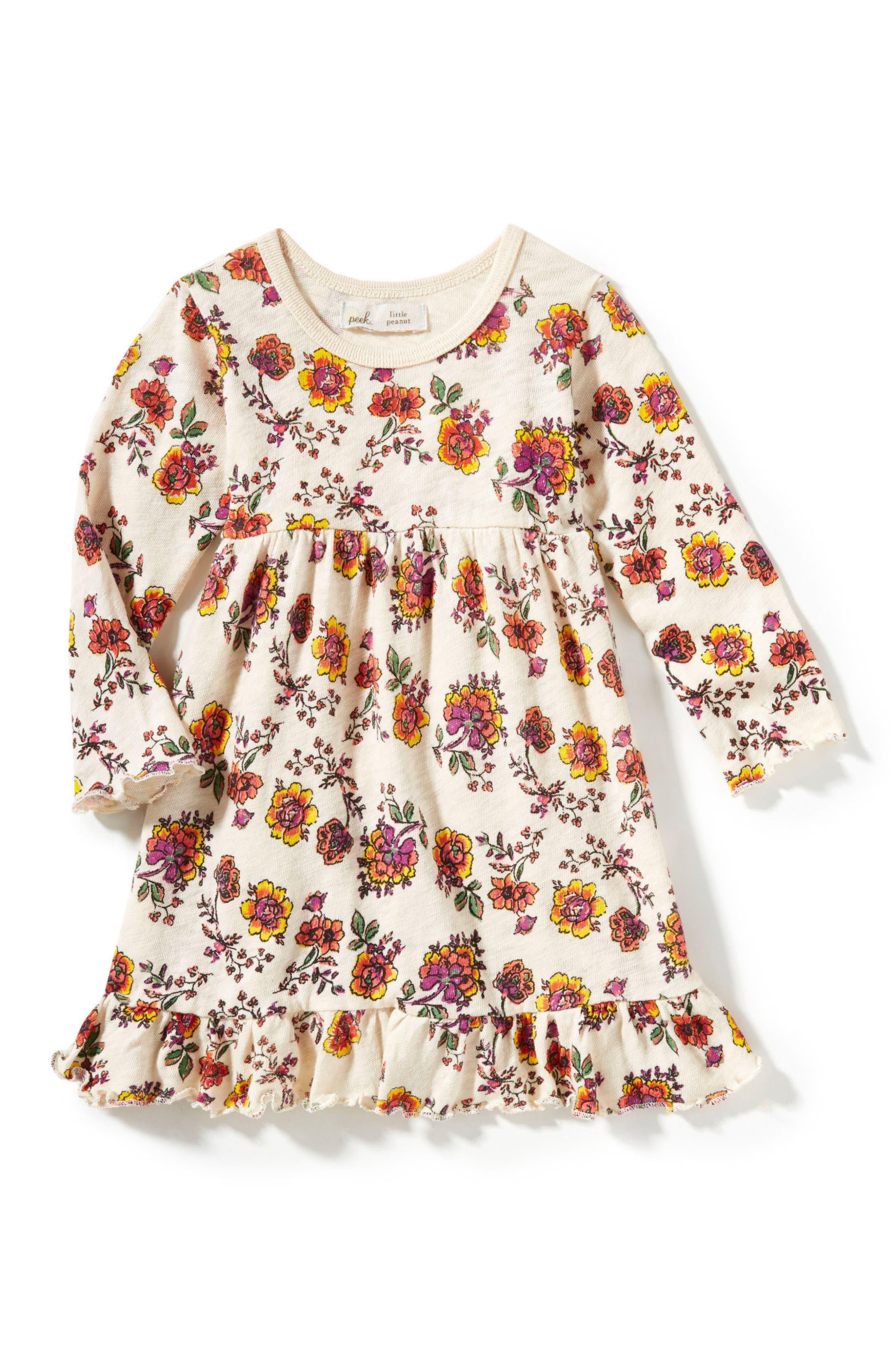 Peek Floral Print Dress,                             Main thumbnail 1, color,                             Cream