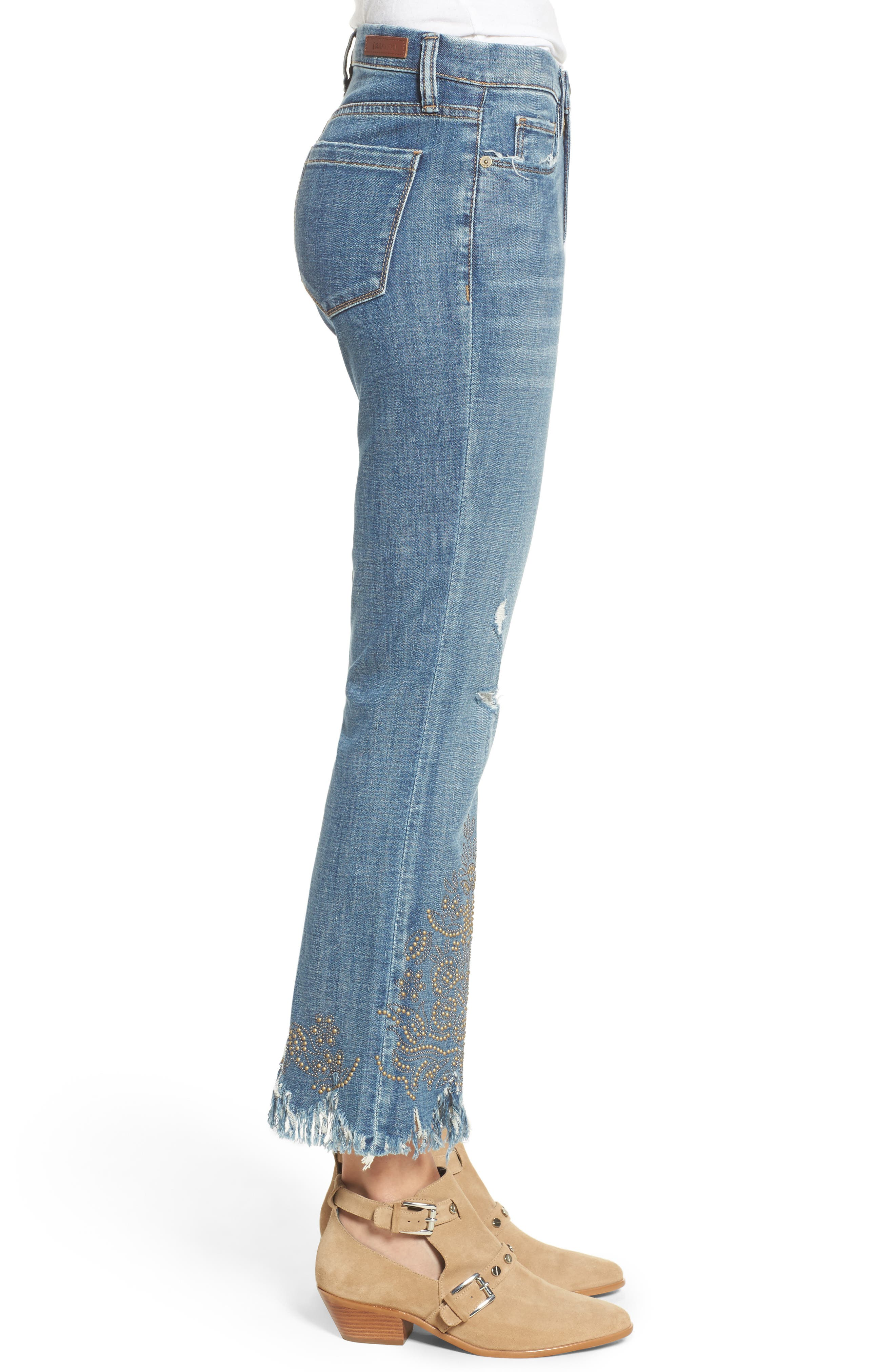 Studded Crop Flare Jeans,                             Alternate thumbnail 3, color,                             Miss Matched Blue