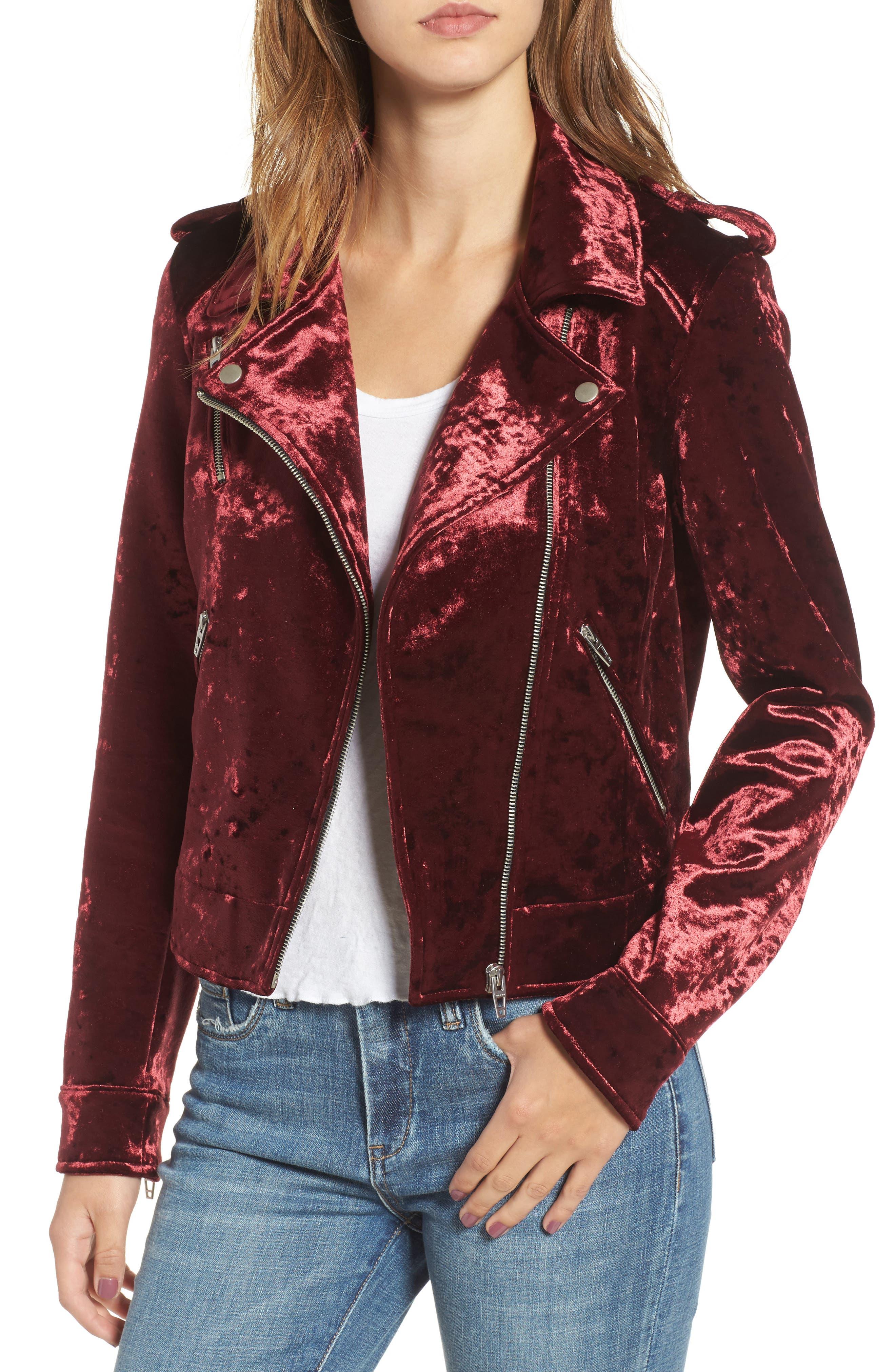 BLANKNYC Bonded Velvet Moto Jacket