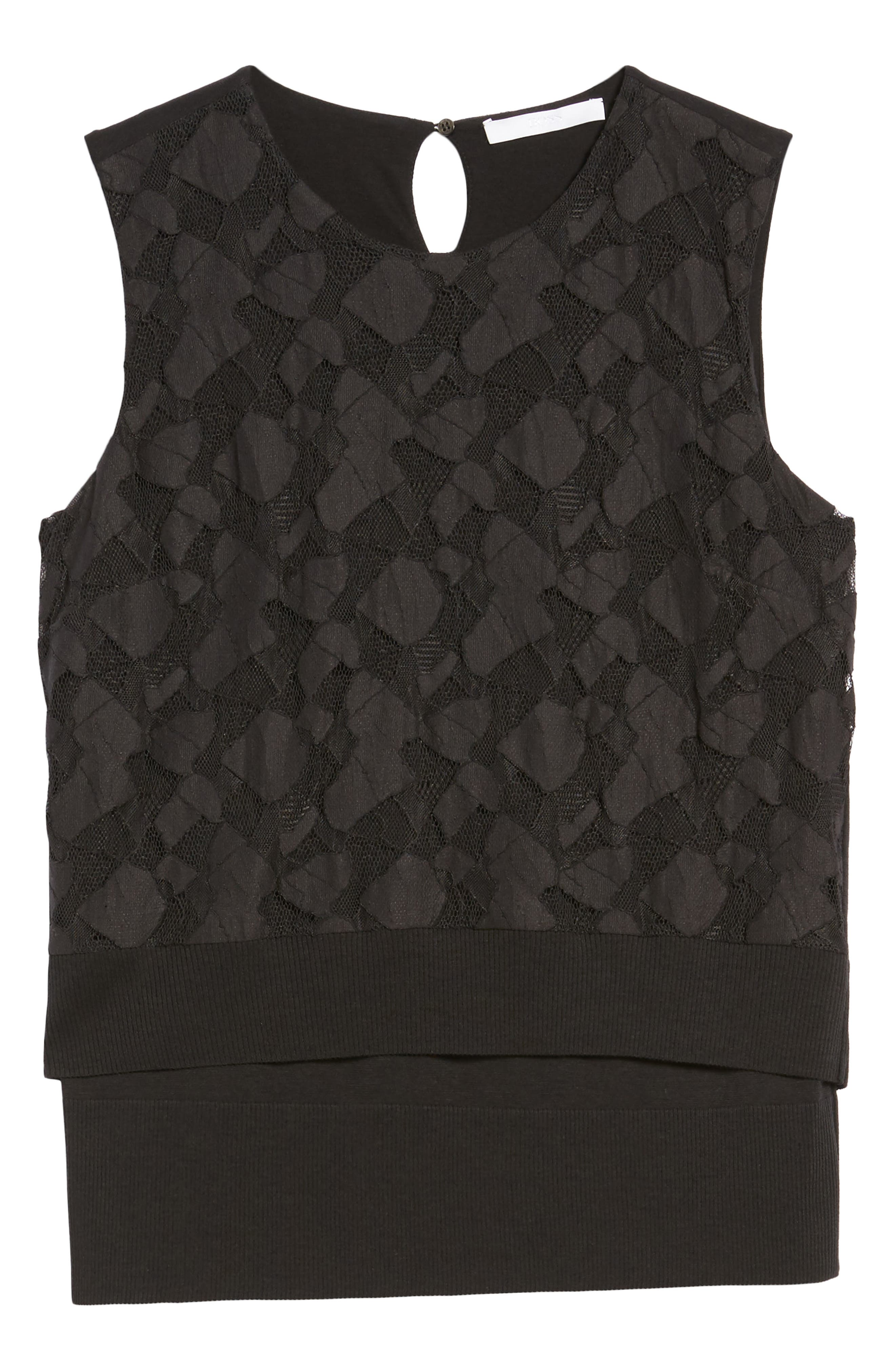 Elrica Lace Front Knit Top,                             Alternate thumbnail 6, color,                             Black