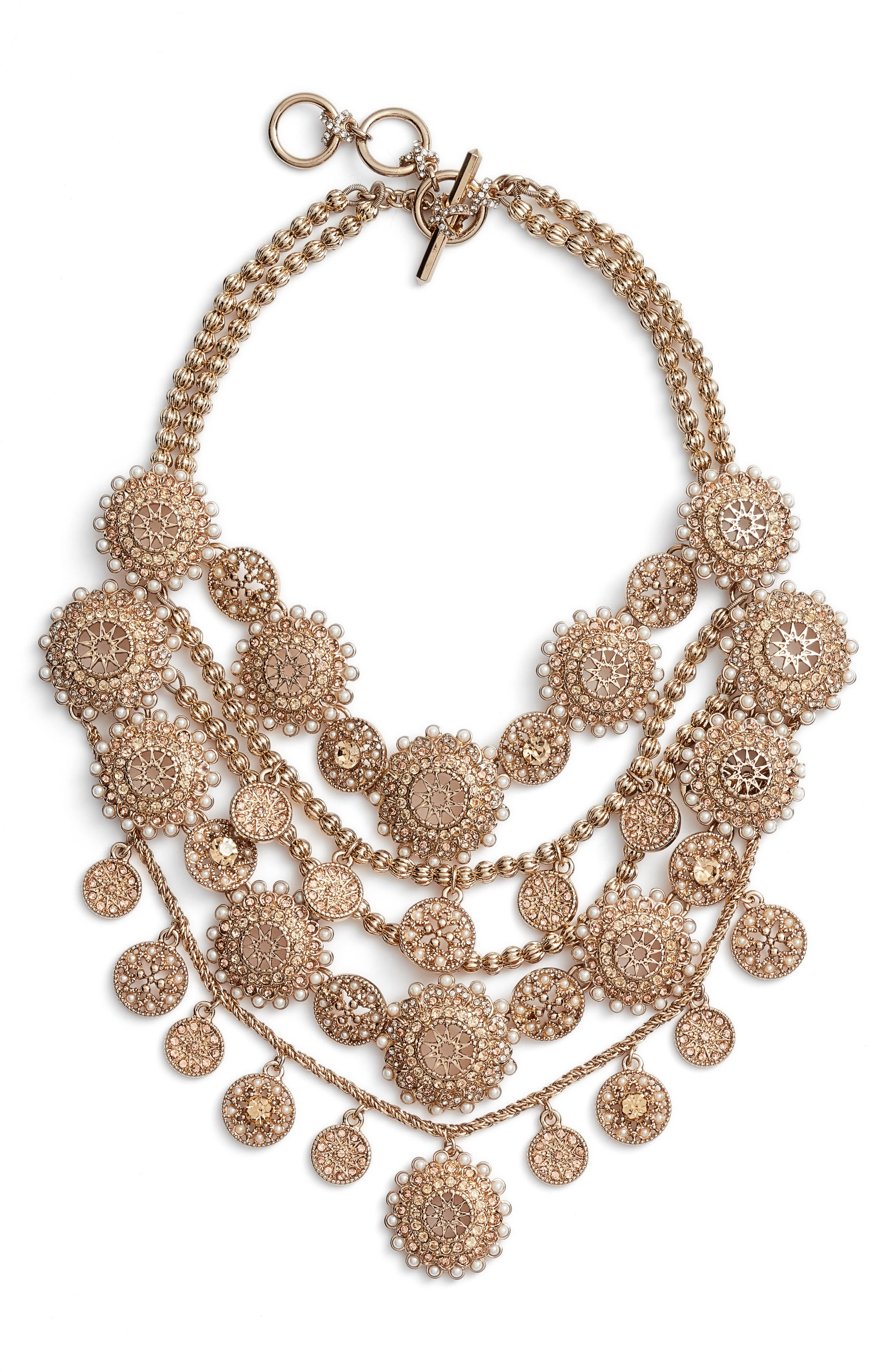 Multirow Collar Necklace,                         Main,                         color, Gold/ Gold Mlt