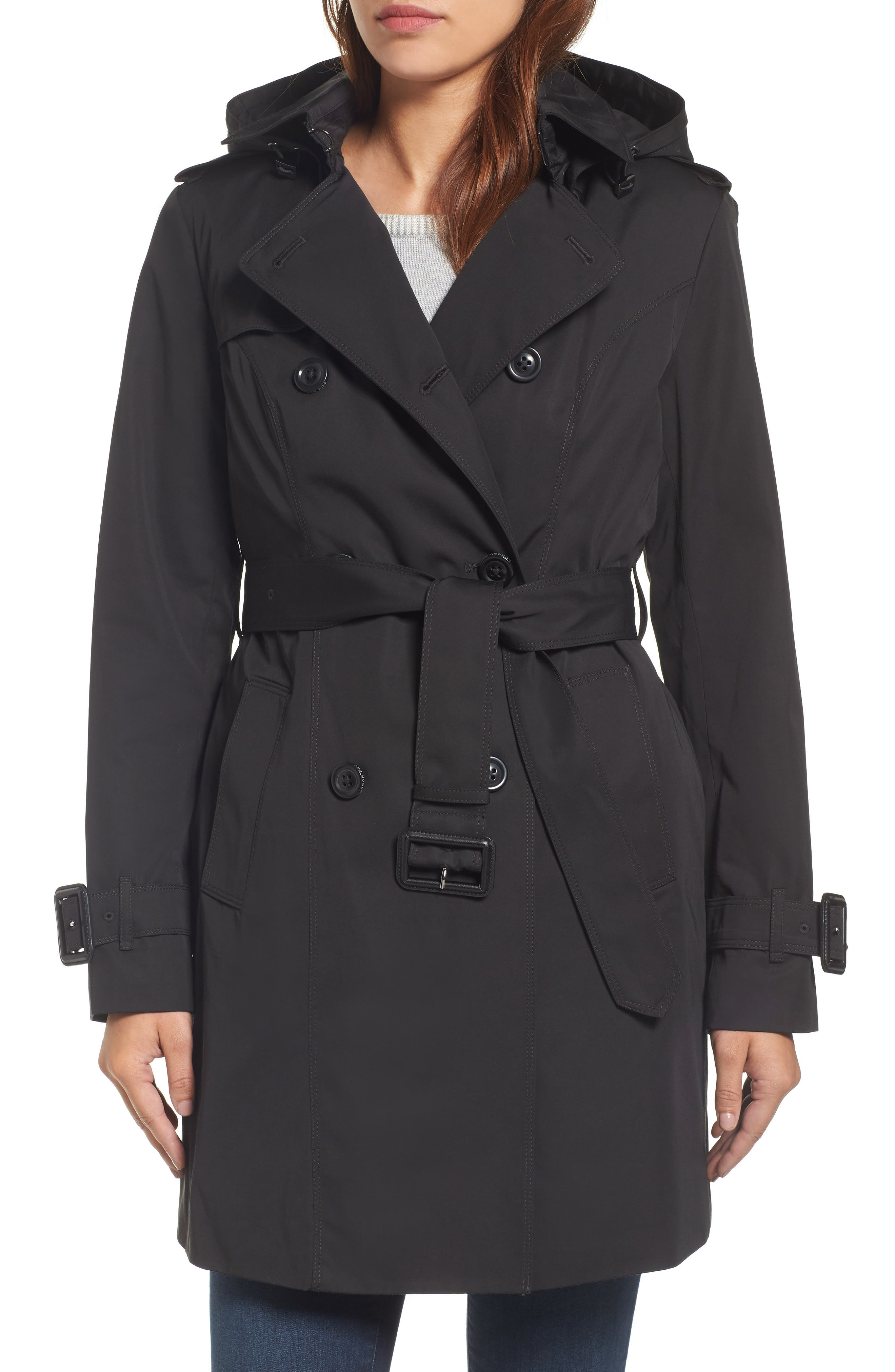 Heritage Trench Coat with Detachable Liner,                         Main,                         color, Black