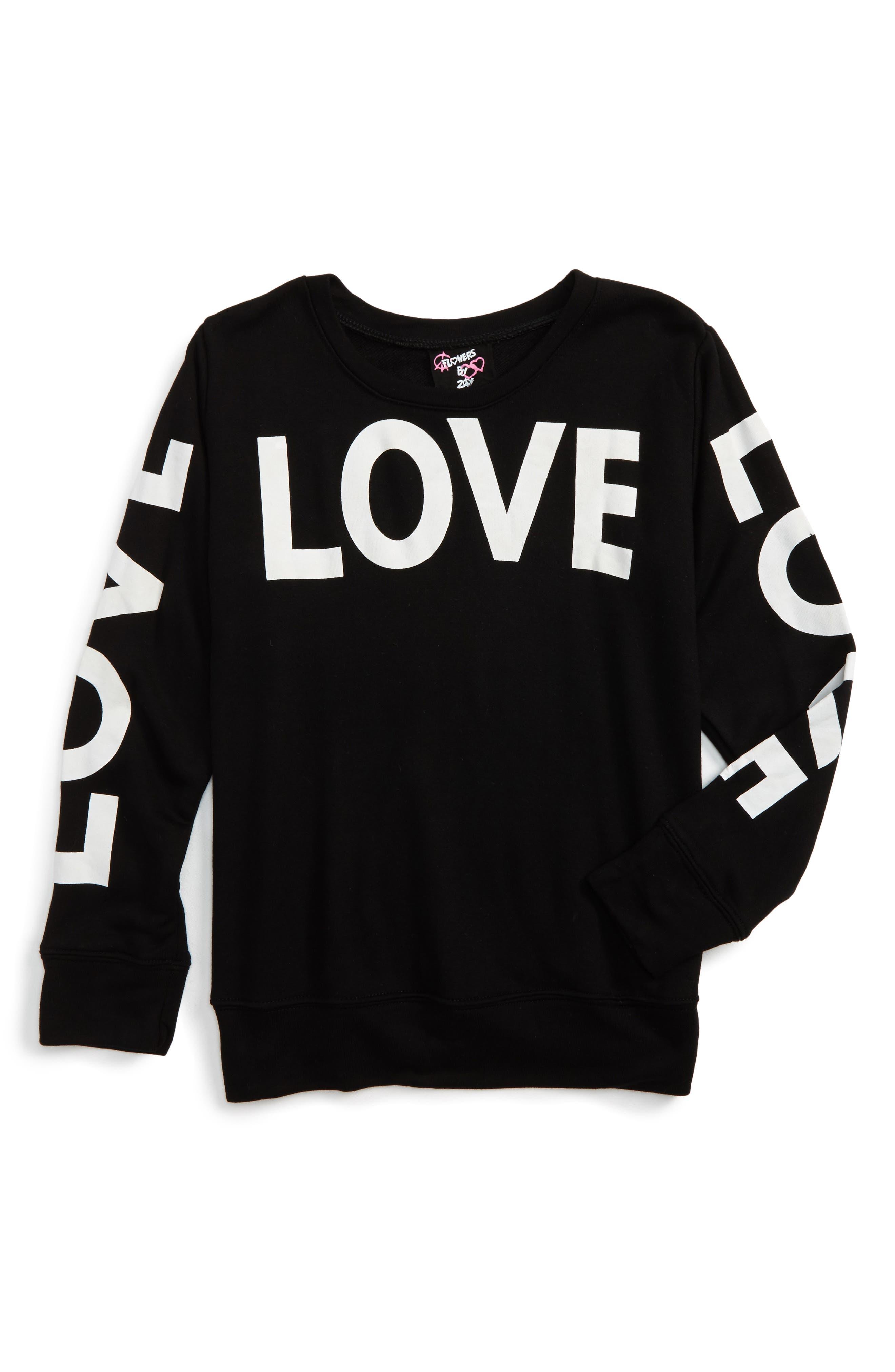 Love Sweatshirt,                         Main,                         color, Black-3Love-White
