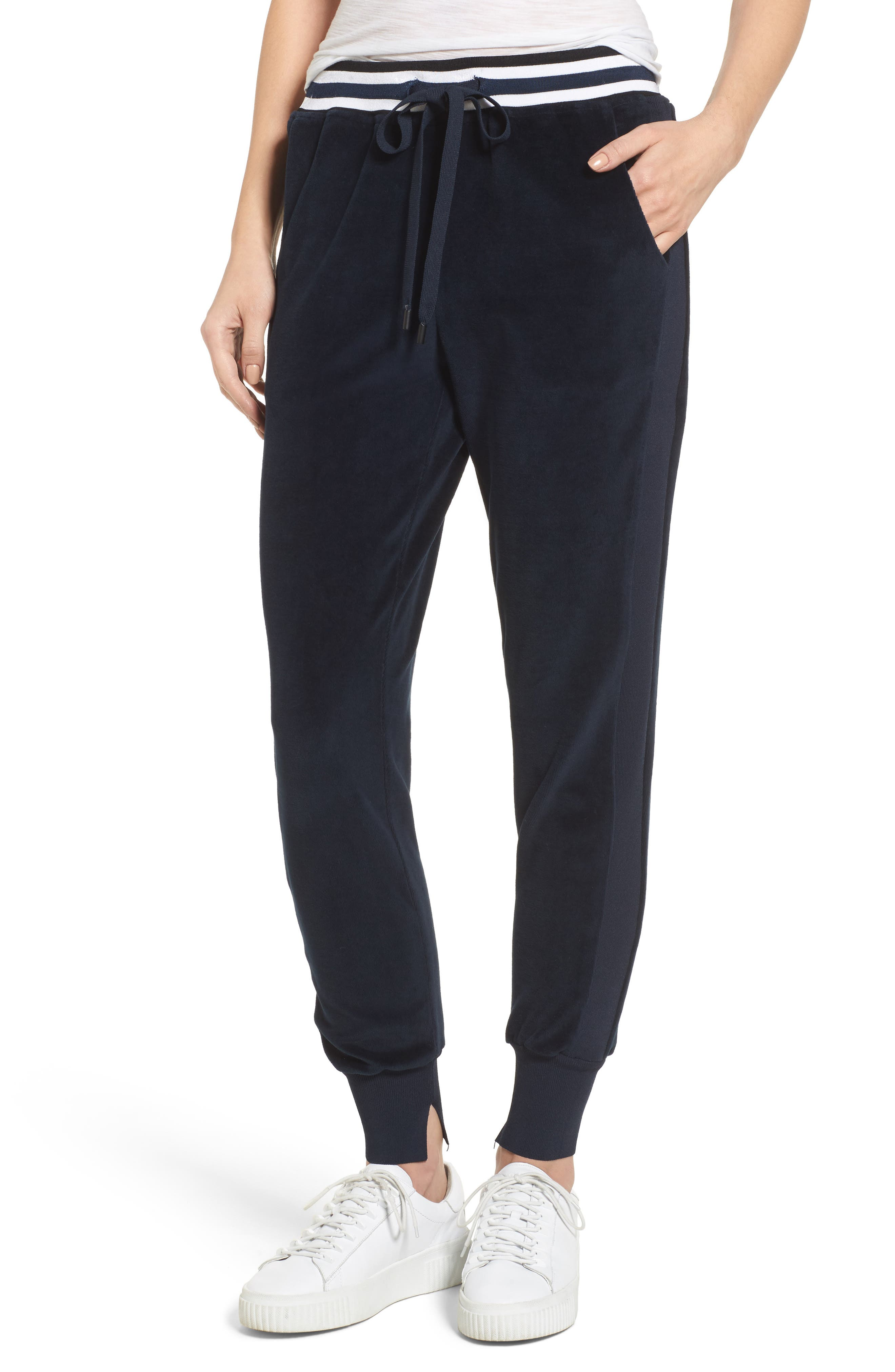 Velour Jogger Pants,                         Main,                         color, True Navy