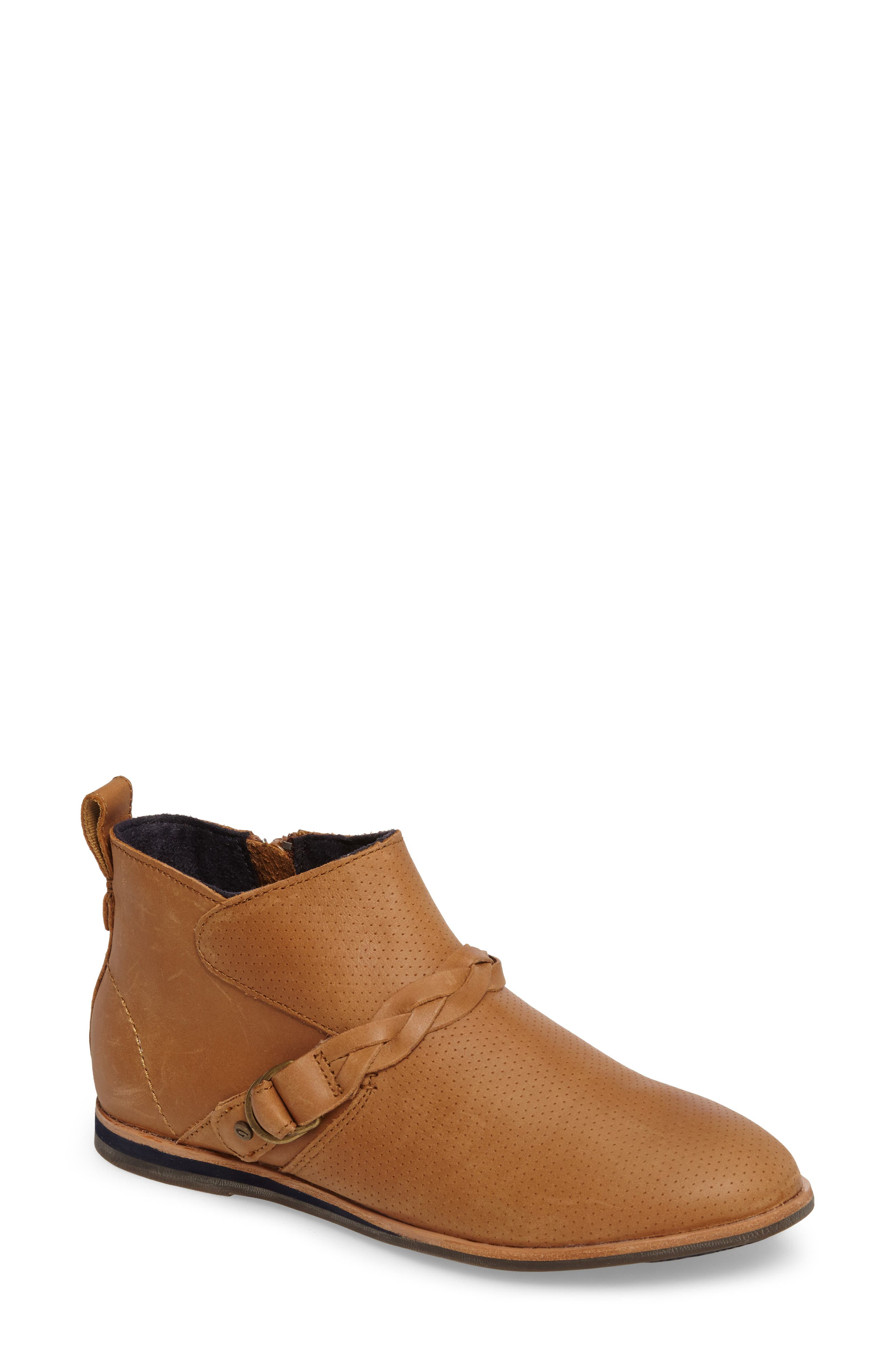 Ho'olu Perforated Bootie,                         Main,                         color, Pecan/ Pecan Leather
