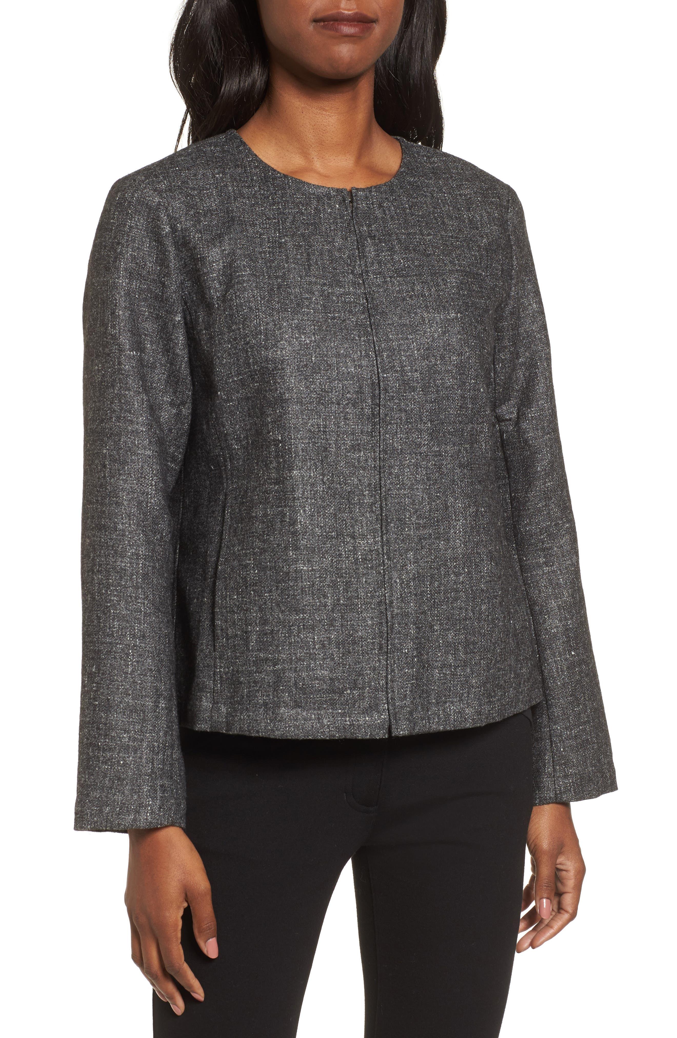 Tweed Jacket,                             Alternate thumbnail 4, color,                             Charcoal