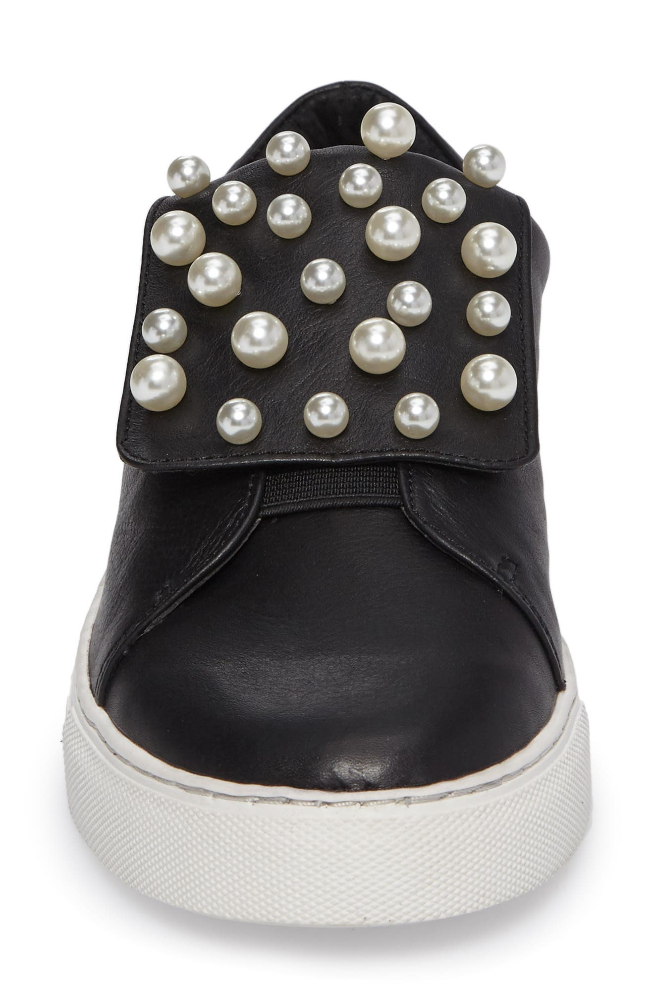 Hadi Imitation Pearl Embellished Platorm Sneaker,                             Alternate thumbnail 4, color,                             Black
