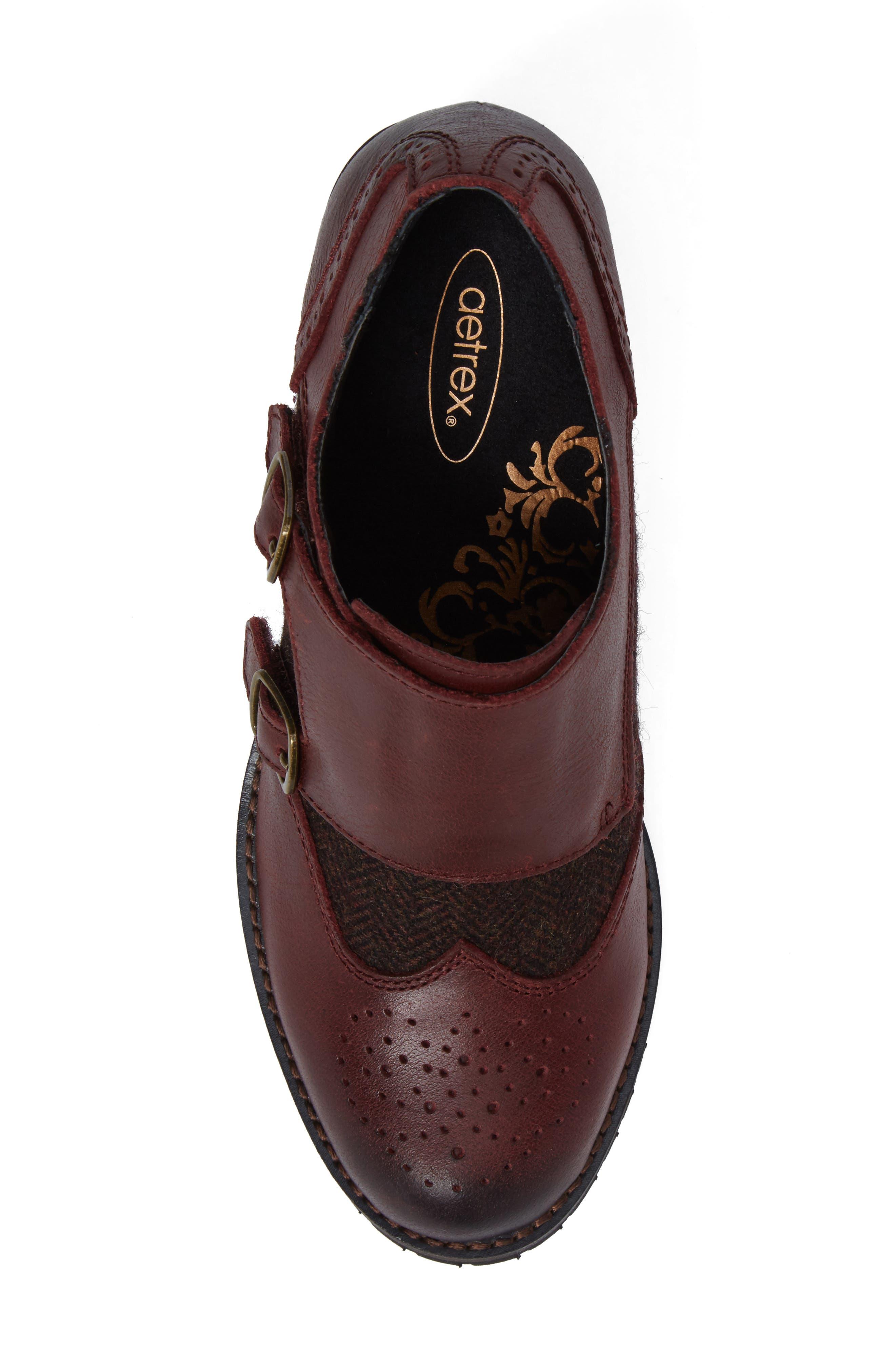 Dina Double Monk Strap Ankle Boot,                             Alternate thumbnail 5, color,                             Merlot Leather