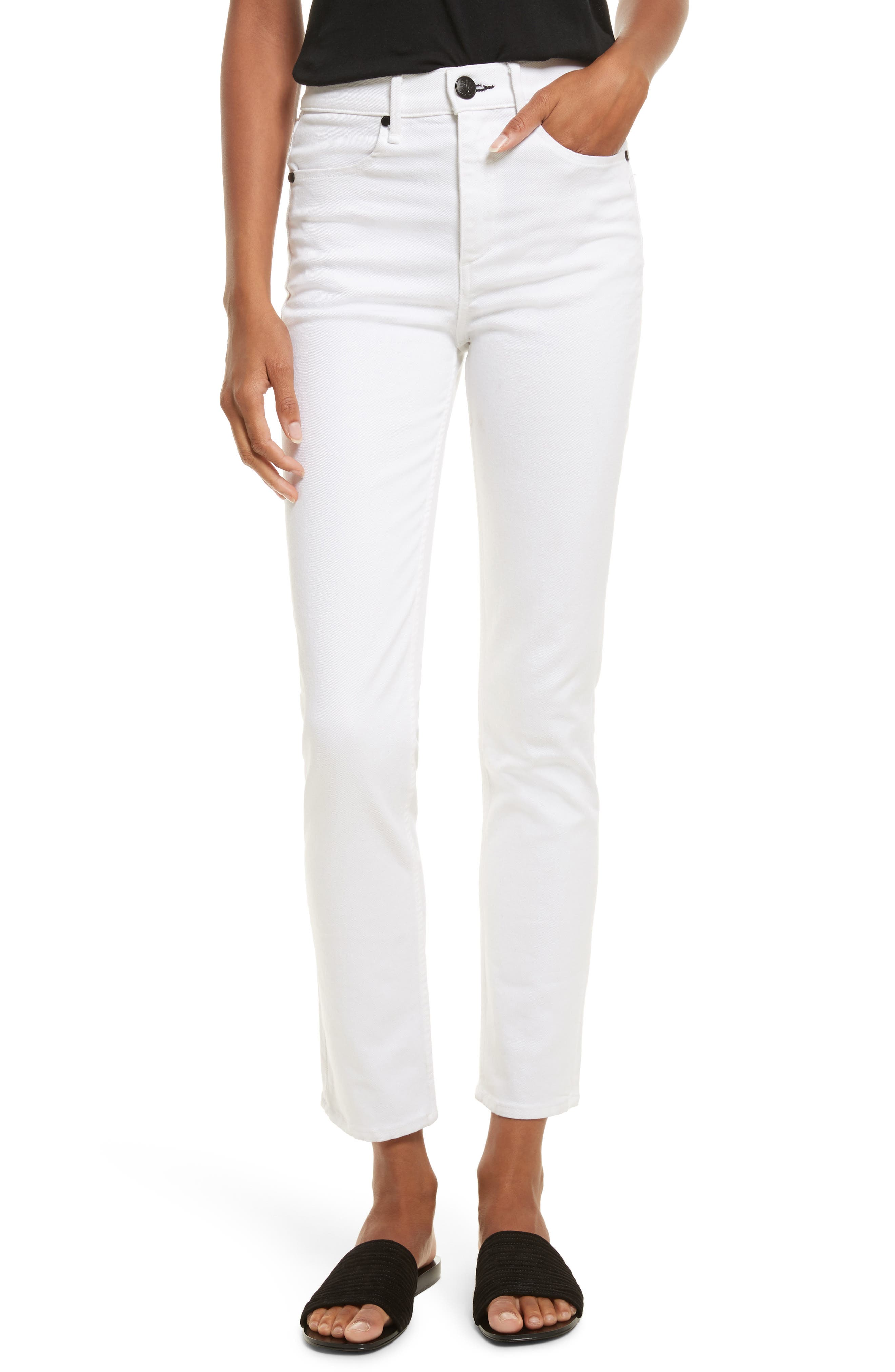 High Waist Ankle Skinny Jeans,                         Main,                         color, White