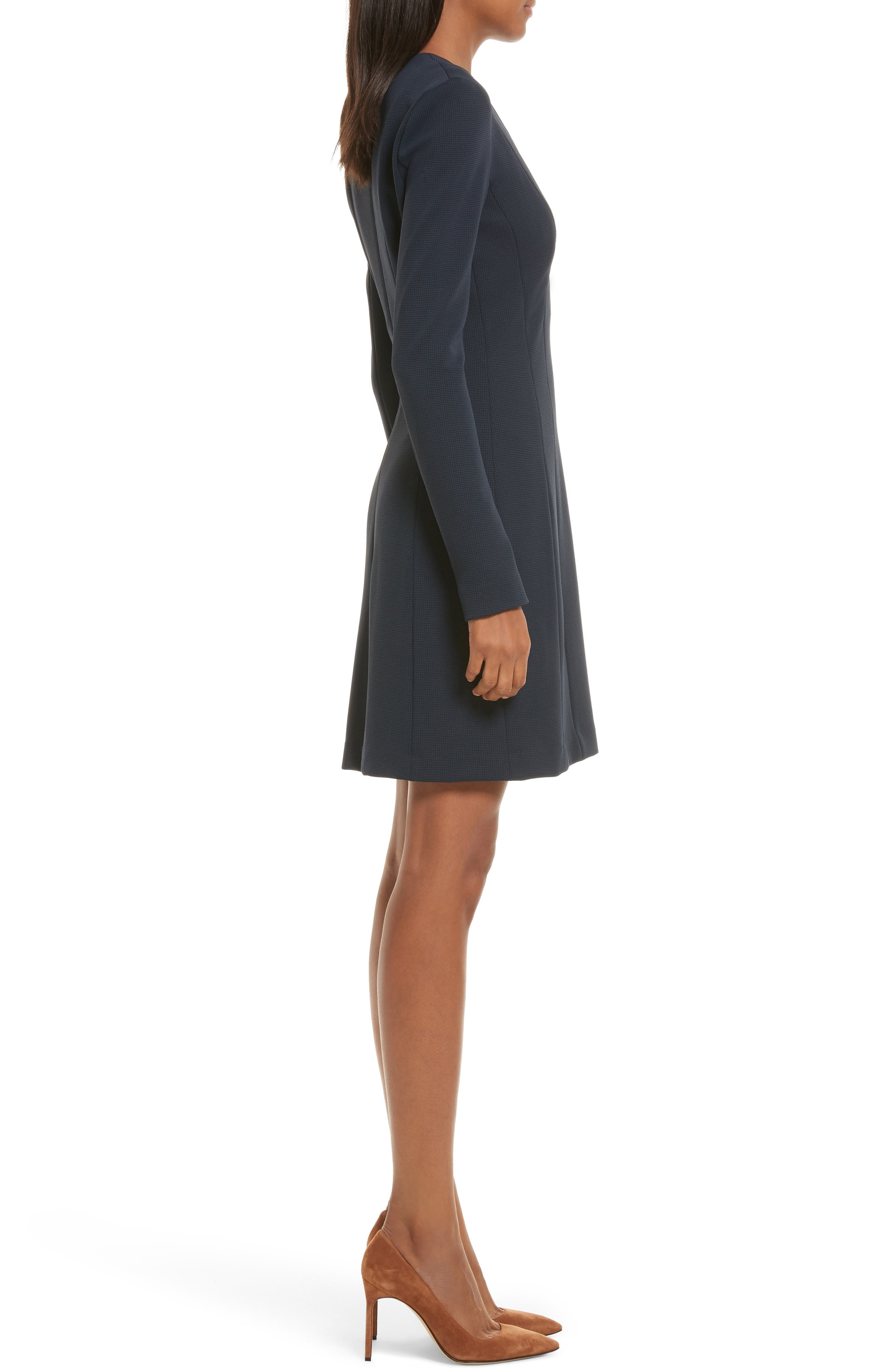 Tuscon Knit A-Line Dress,                             Alternate thumbnail 3, color,                             Deep Navy