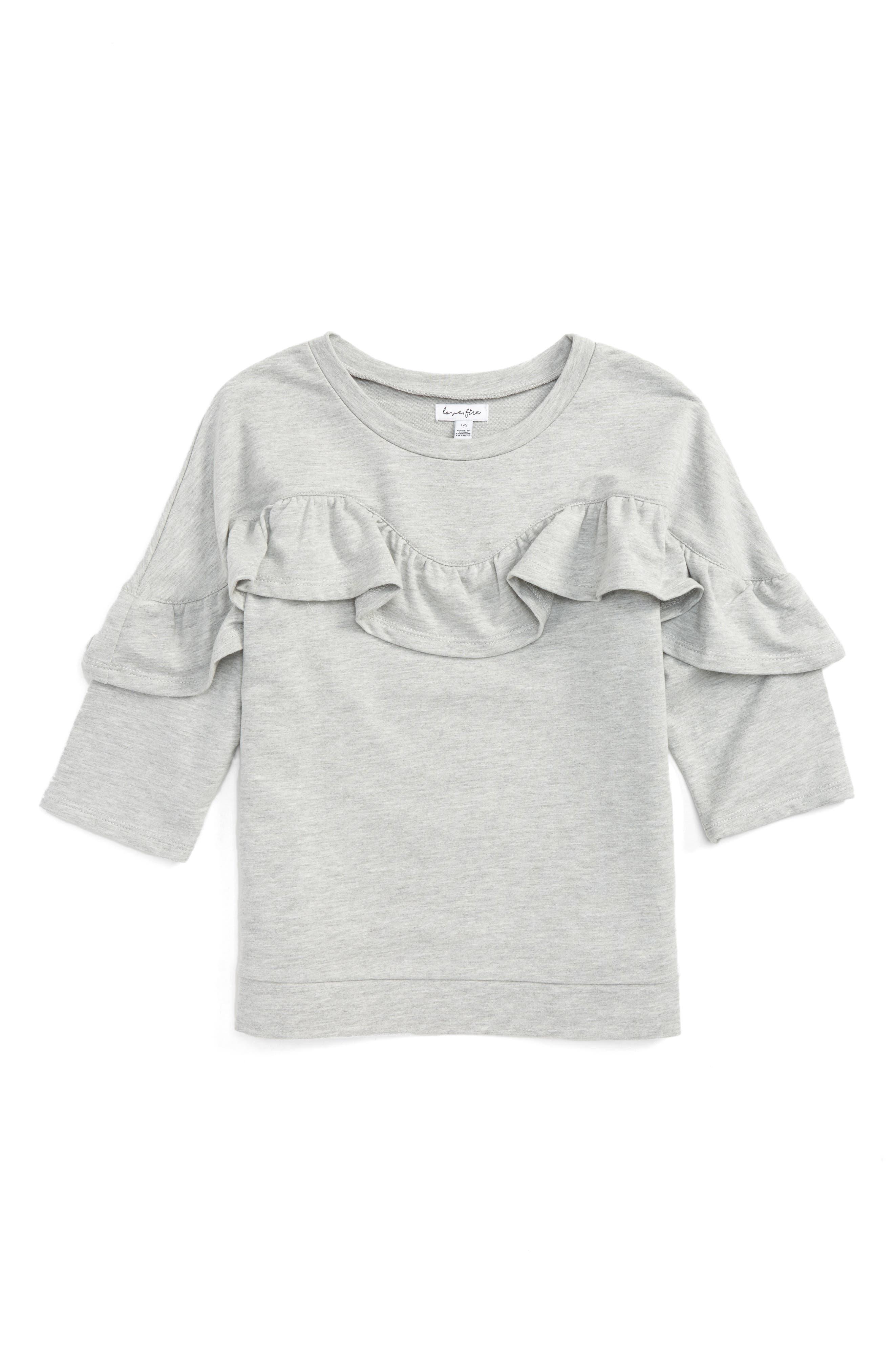 Love, Fire Ruffle Shirt (Big Girls)