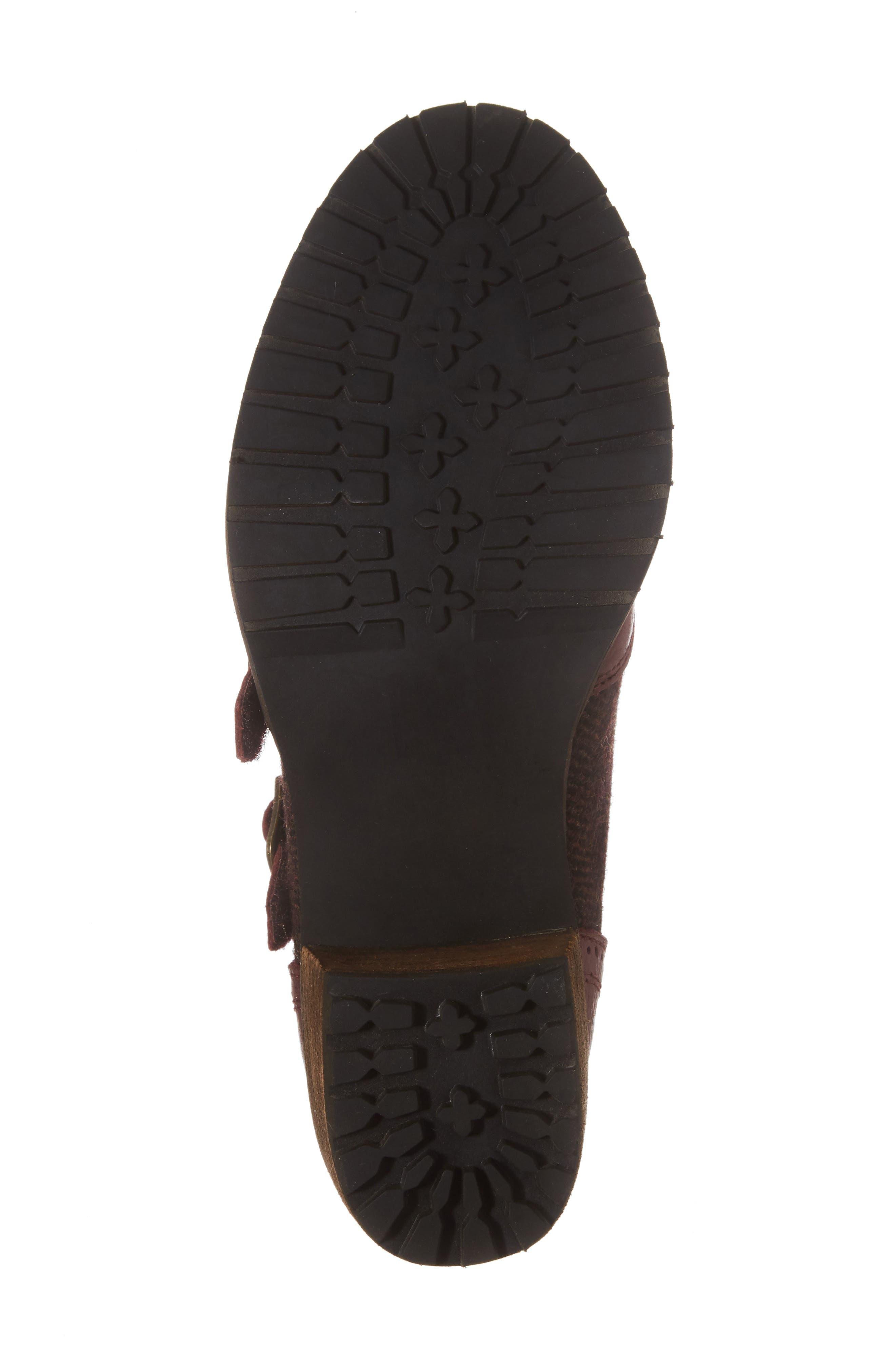Dina Double Monk Strap Ankle Boot,                             Alternate thumbnail 6, color,                             Merlot Leather