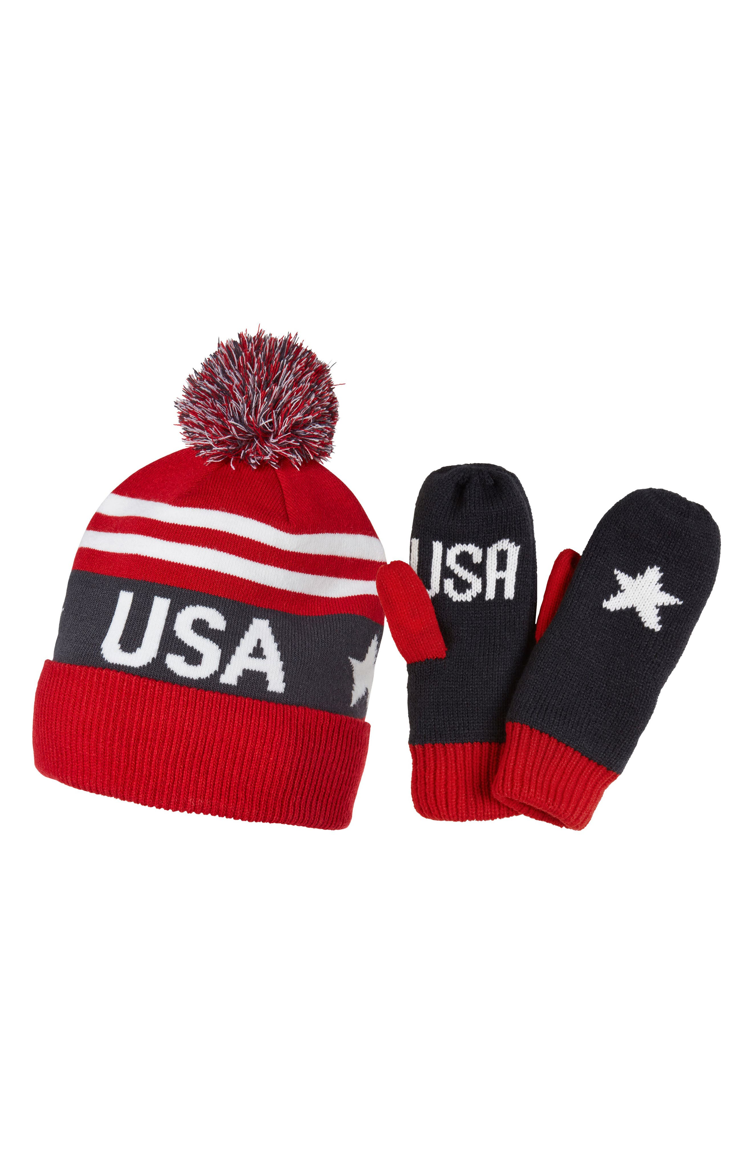 Going For Gold Knit Cap & Mittens Gift Set,                             Main thumbnail 1, color,                             Olympian Blue/ Usa