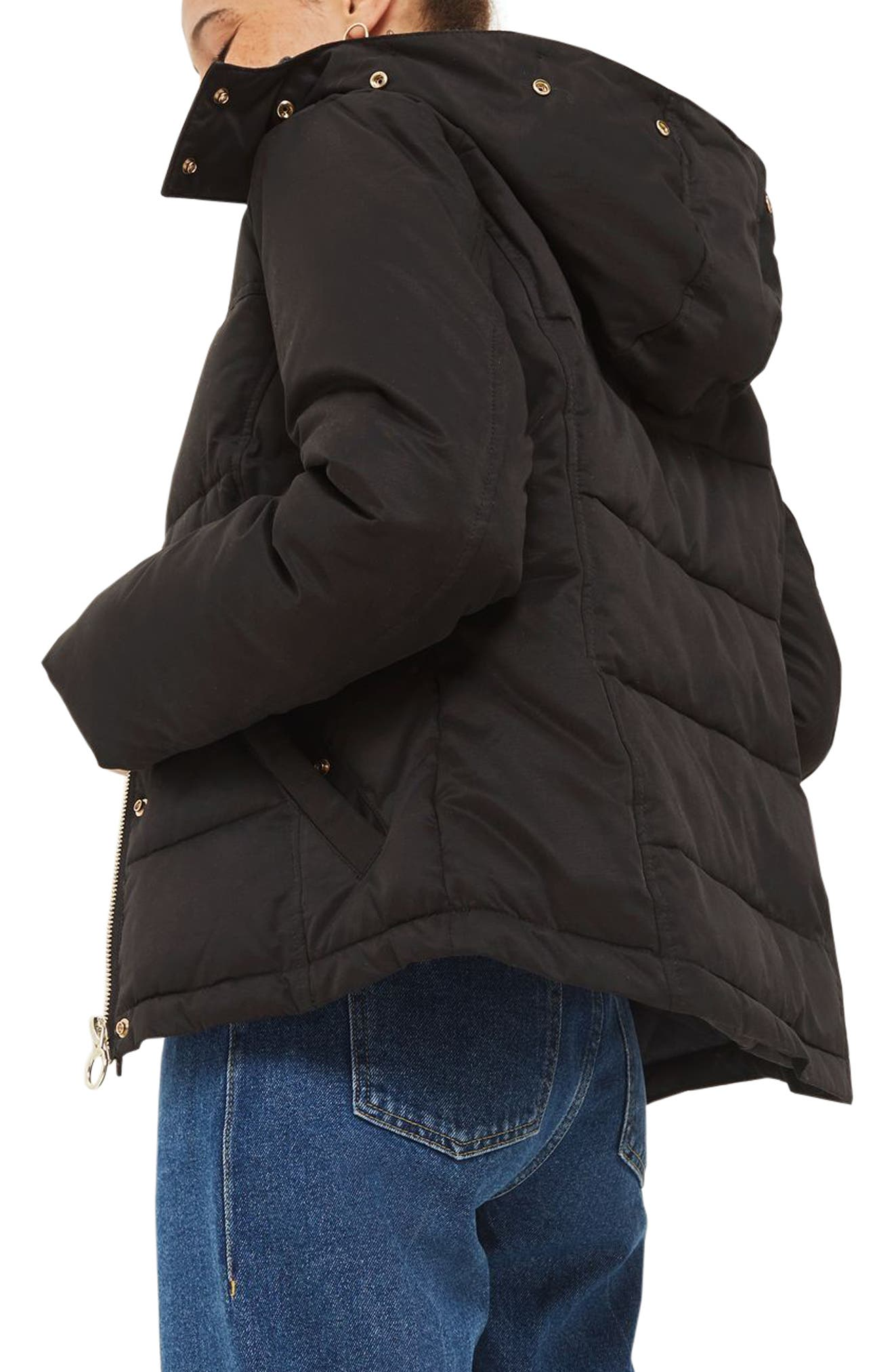 Alternate Image 3  - Topshop Jerry Faux Fur Trim Puffer Jacket