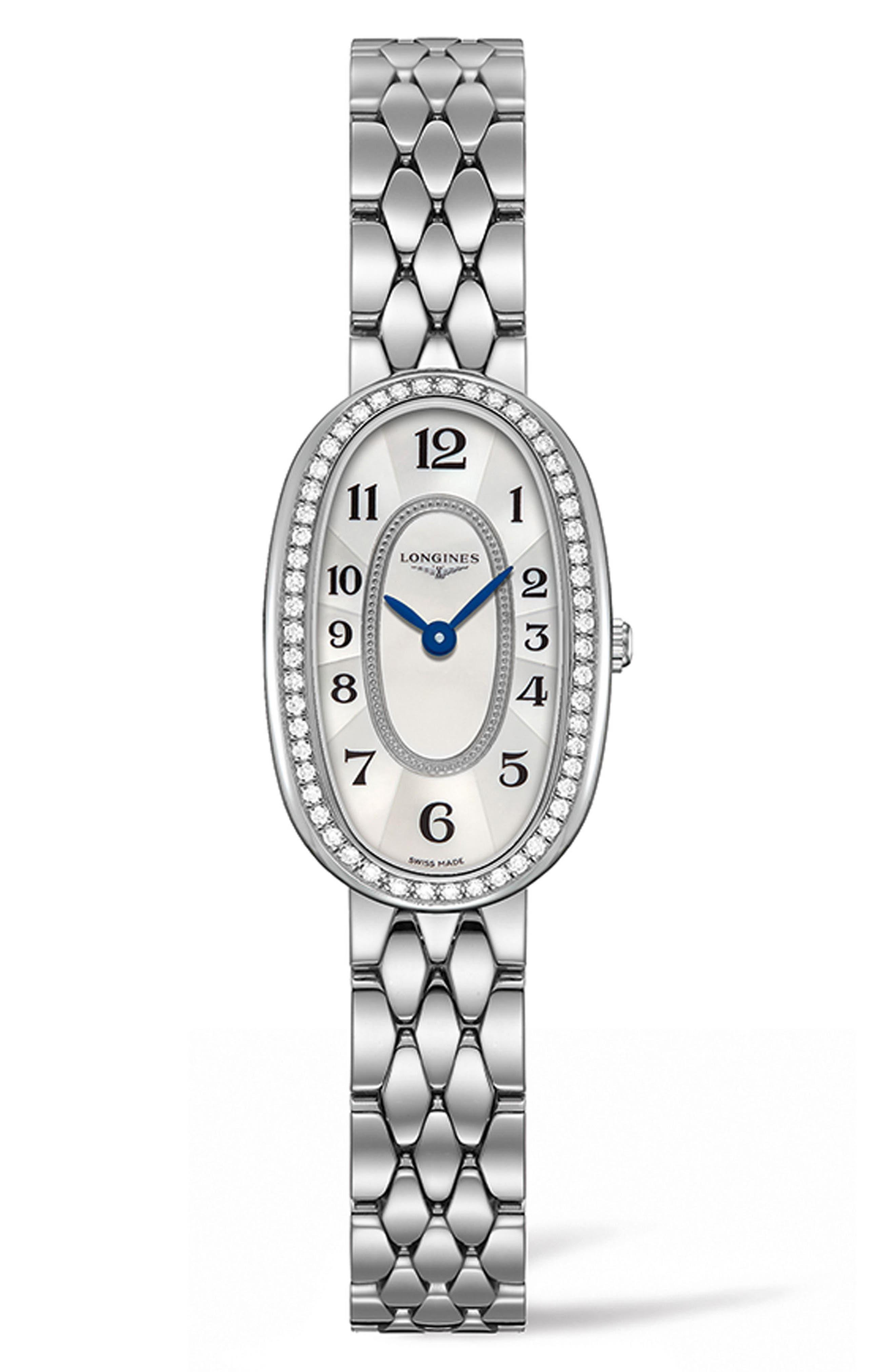 Symphonette Diamond Bracelet Watch, 18.9mm x 29.4mm,                             Main thumbnail 1, color,                             Silver/ Mop/ Silver