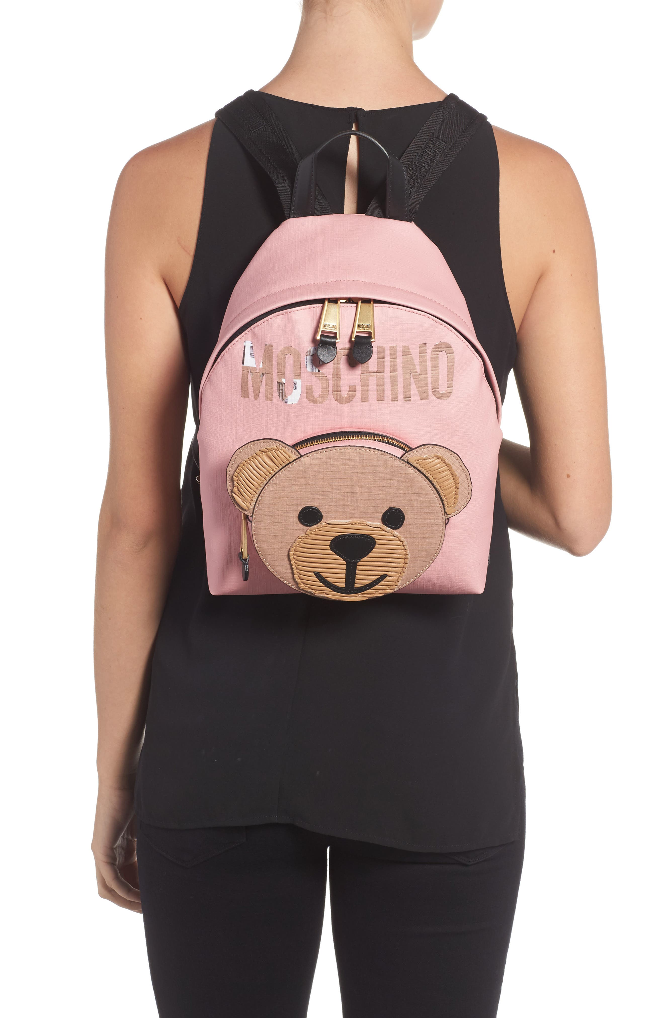 Alternate Image 2  - Moschino Cardboard Bear Leather Backpack