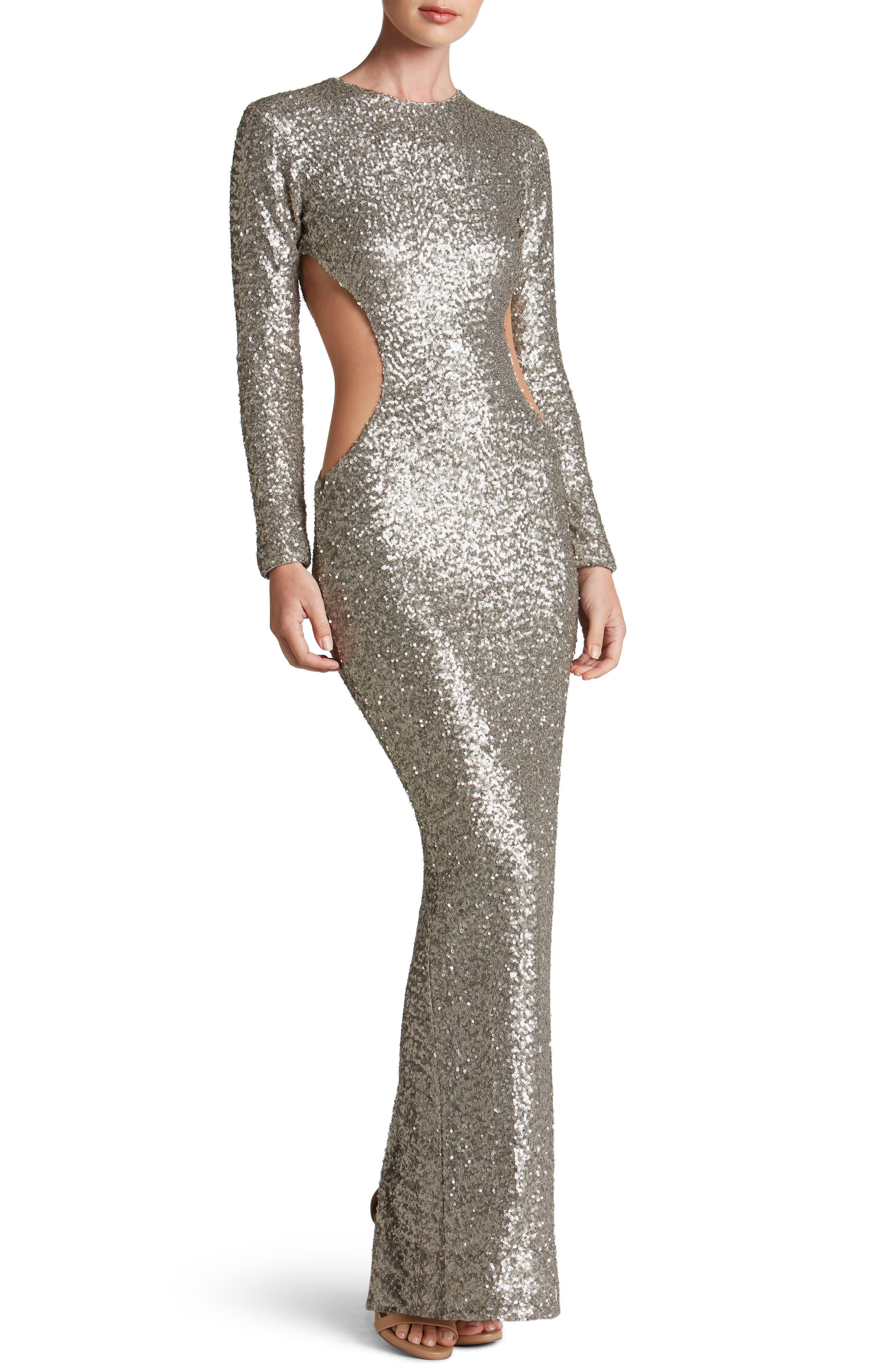 Lara Body-Con Gown,                         Main,                         color, Platinum