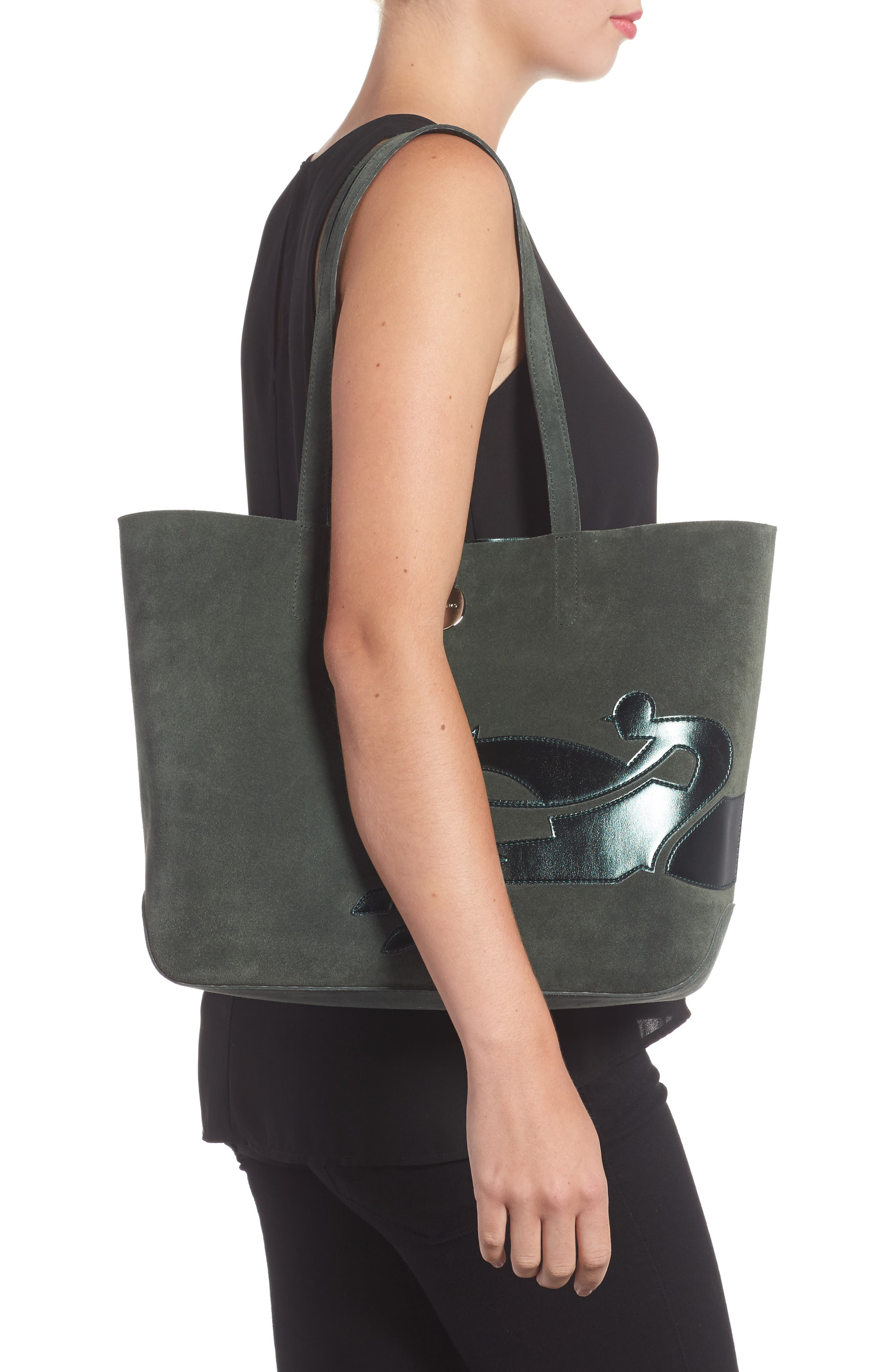 Shop It Suede Tote,                             Alternate thumbnail 2, color,                             Fir Green