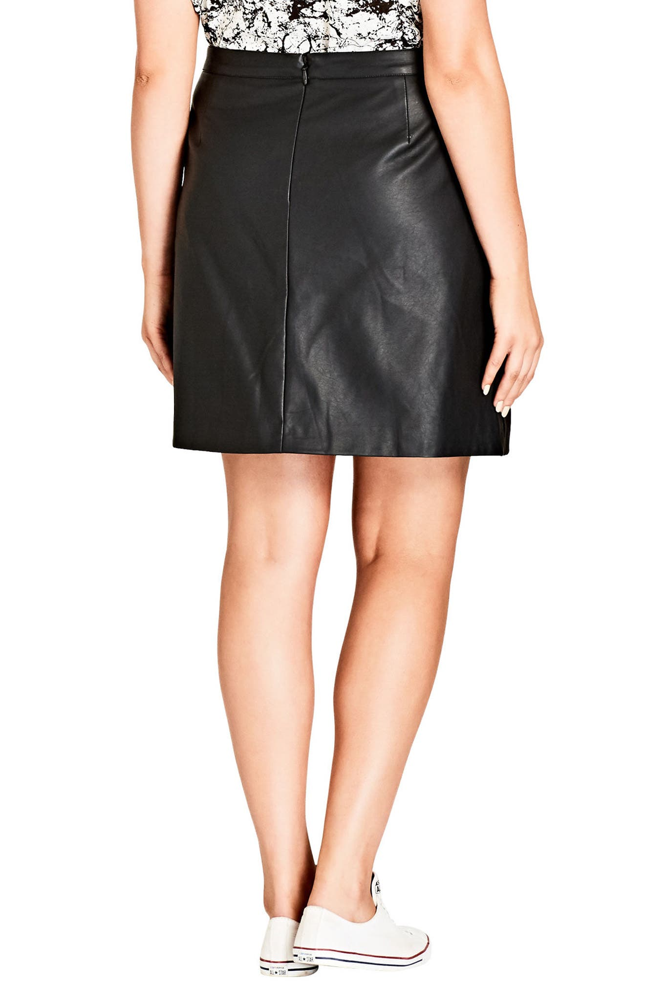 Faux Leather Miniskirt,                             Alternate thumbnail 2, color,                             Black