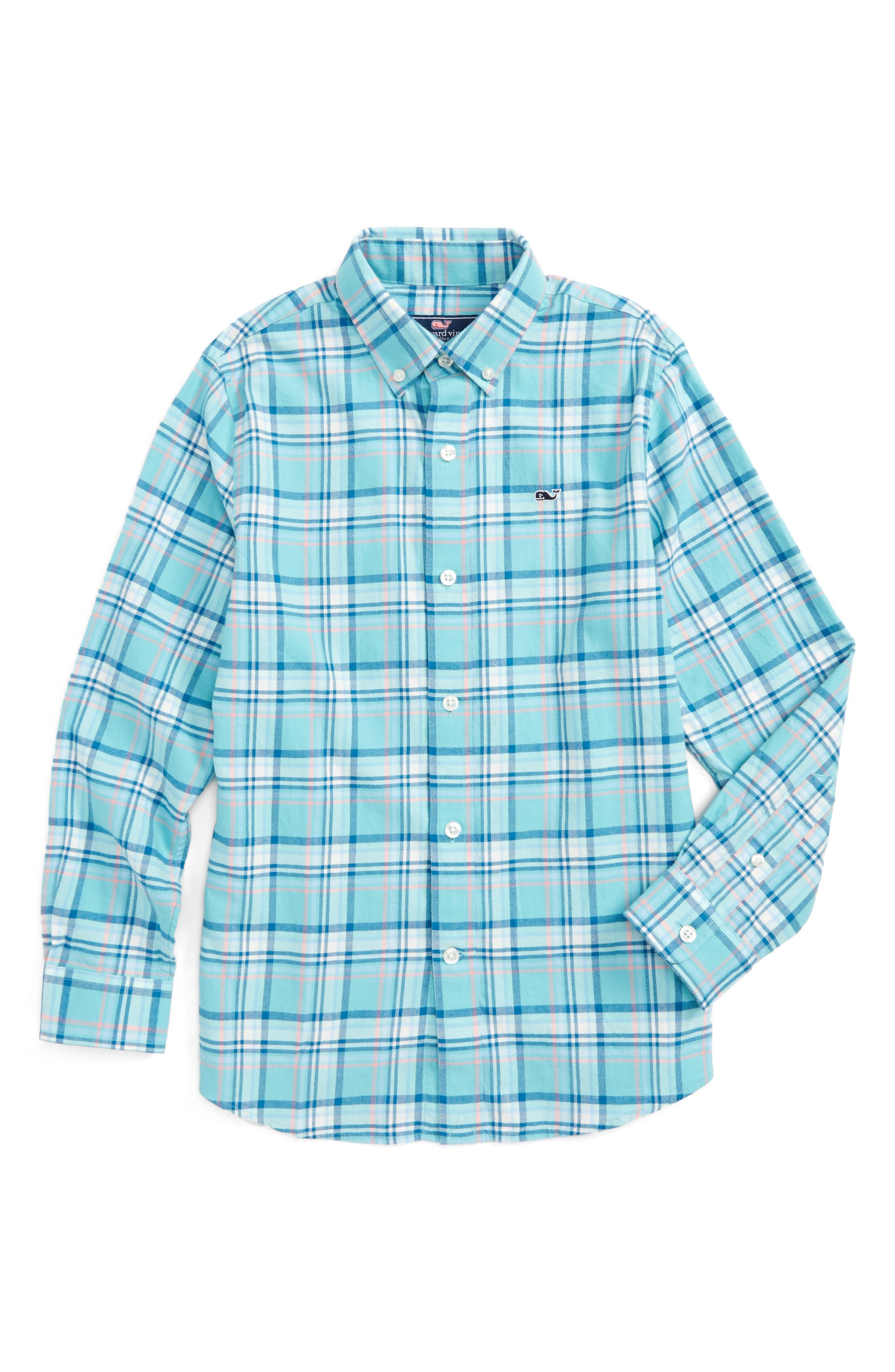 Loblolly Plaid Shirt,                             Main thumbnail 1, color,                             Aqua Ocean