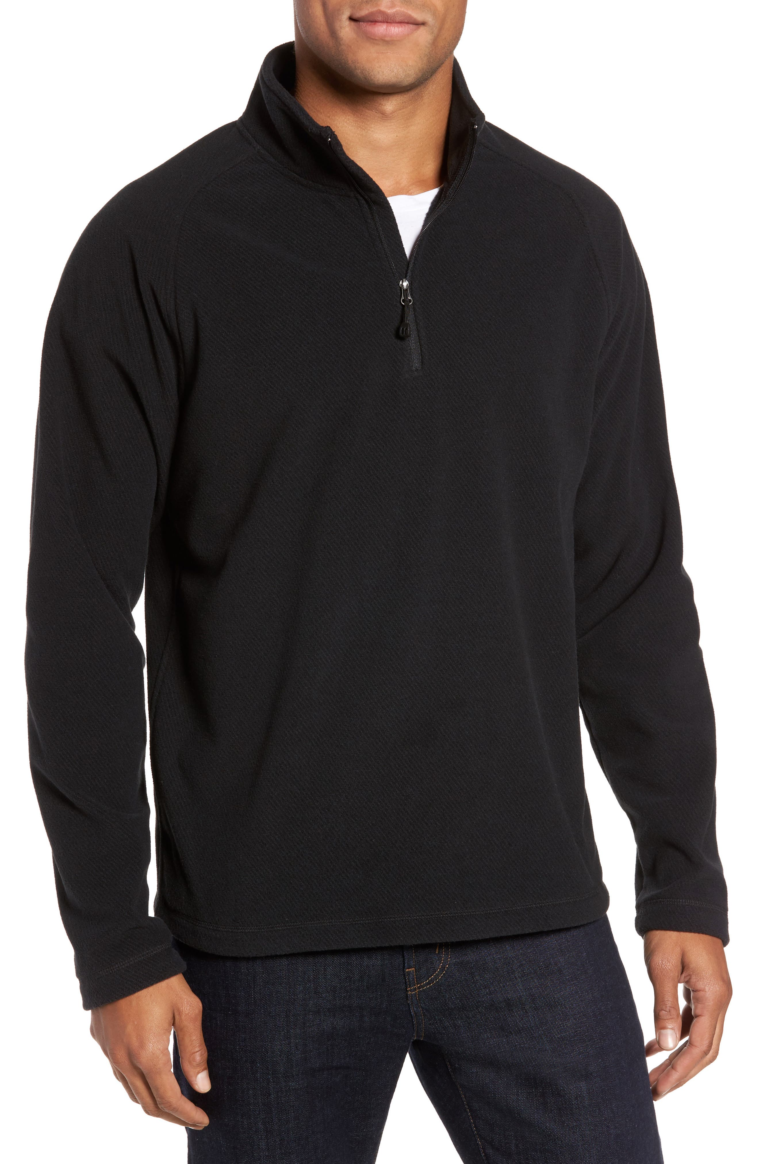 Quarter Zip Fleece Pullover,                         Main,                         color, Black Caviar