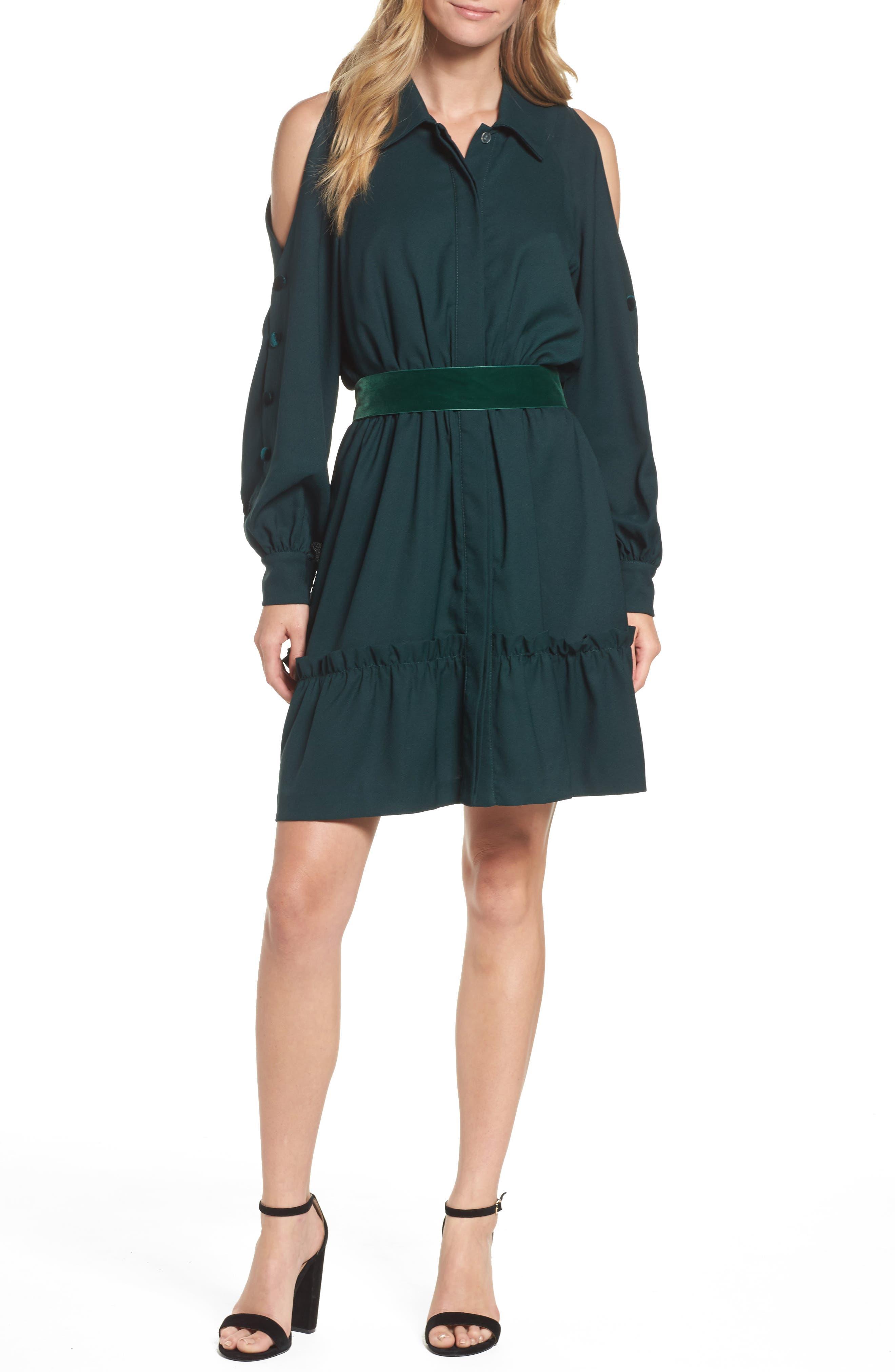 Alternate Image 1 Selected - Eliza J Cold Shoulder Shirtdress (Regular & Petite)