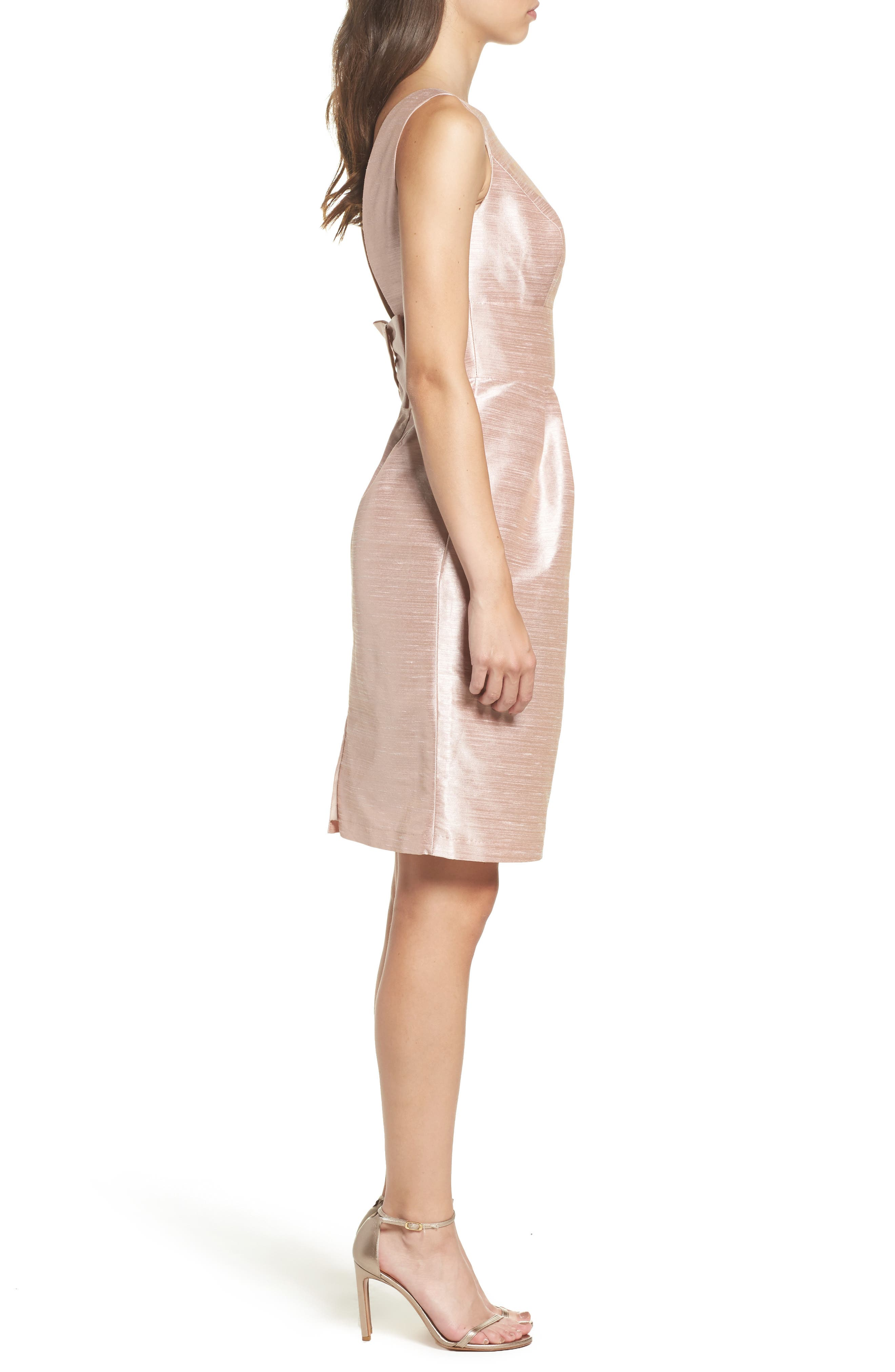 Boatneck Sheath Dress,                             Alternate thumbnail 3, color,                             Pearl Pink