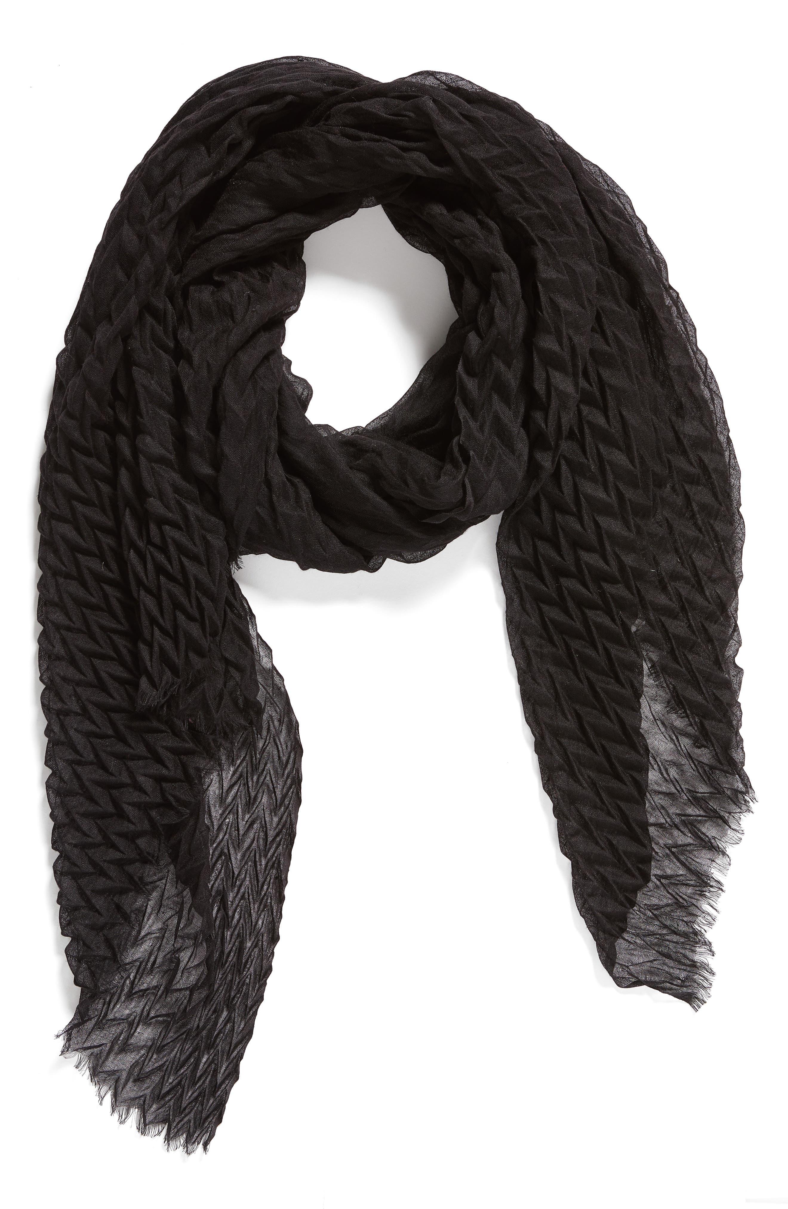 Silk & Wool Wrap,                             Alternate thumbnail 3, color,                             Black