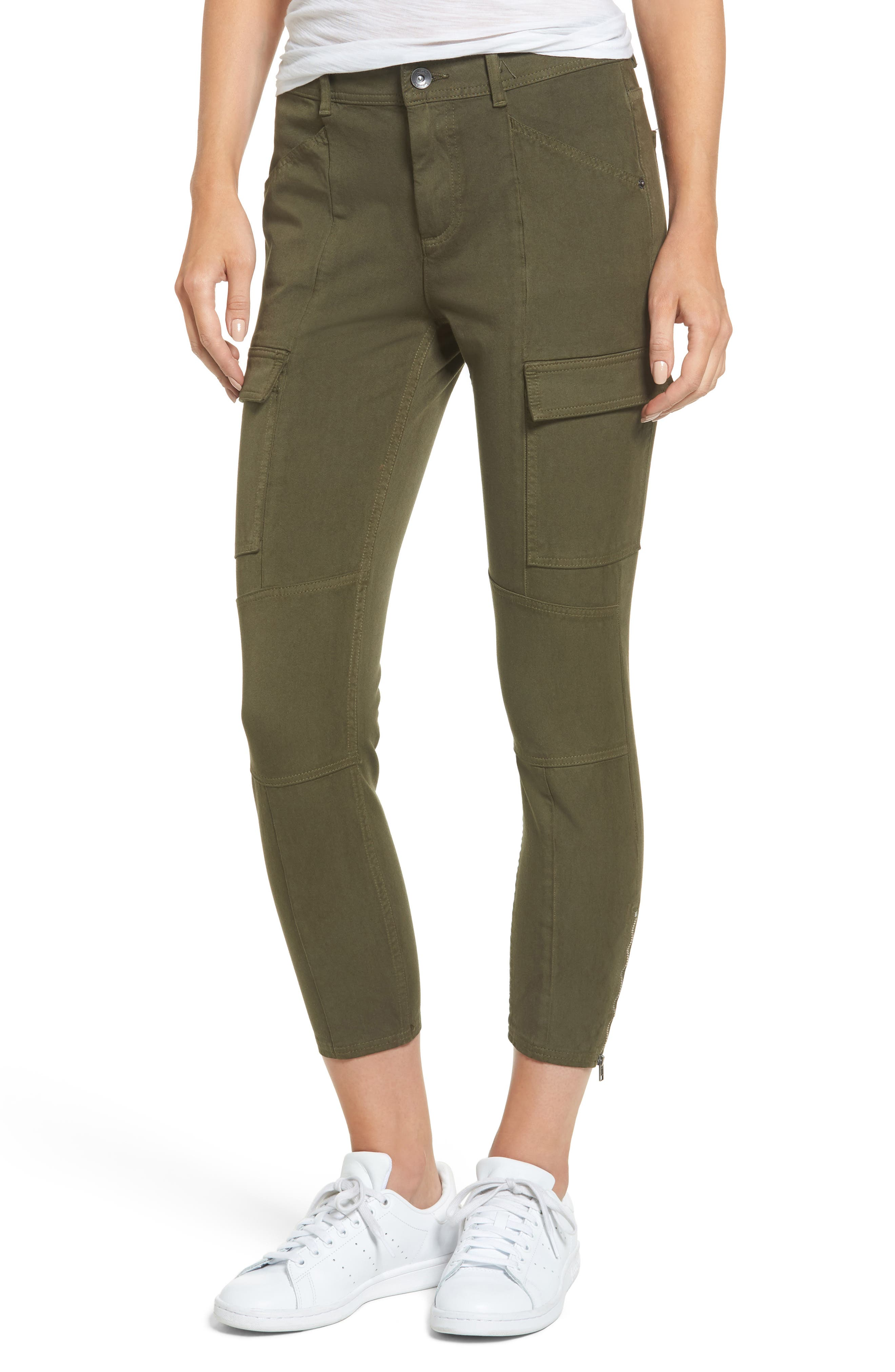 Stretch Twill Cargo Pants,                         Main,                         color, Black