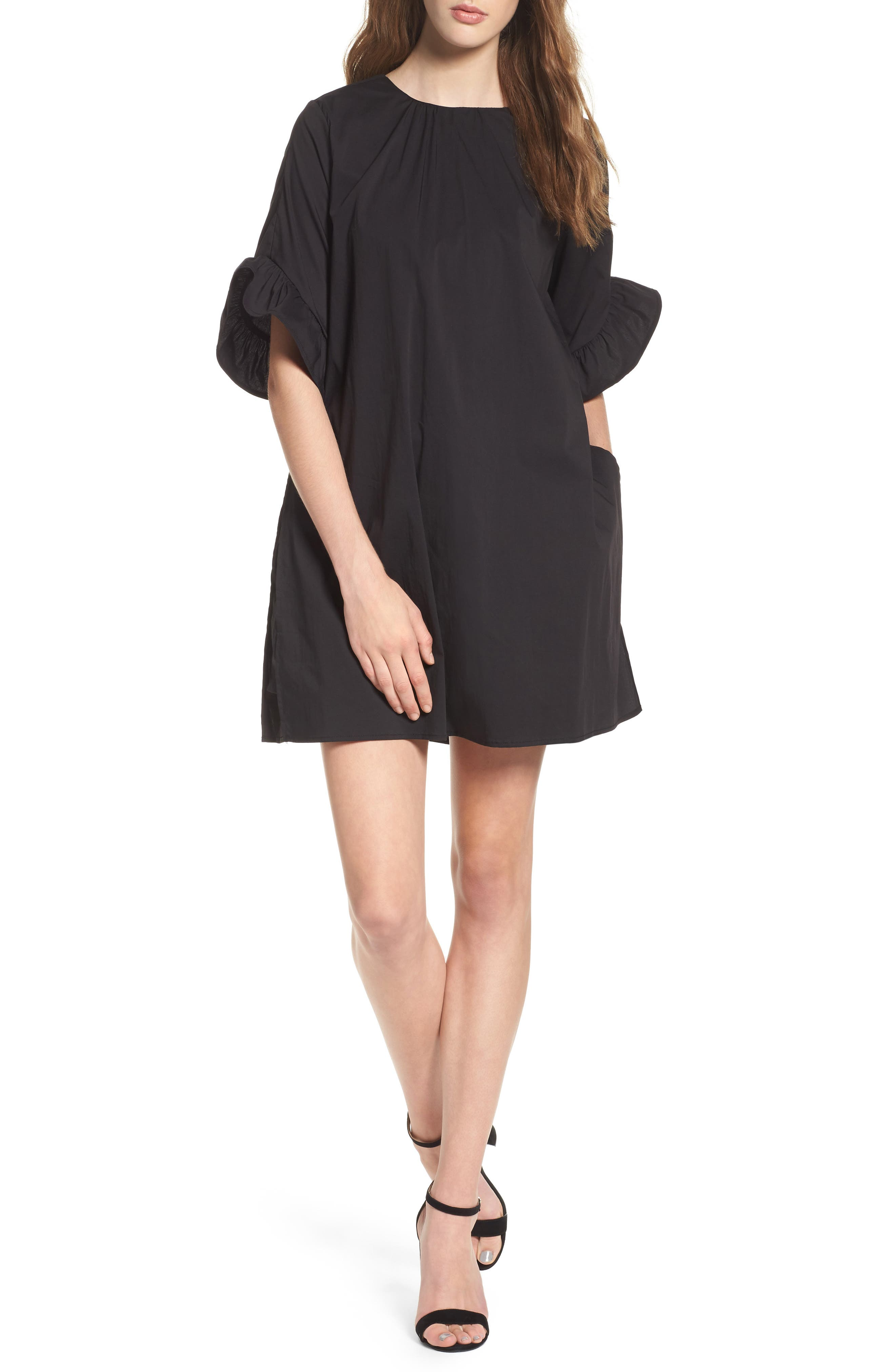 Shift Dress with Attached Shorts,                         Main,                         color, Black