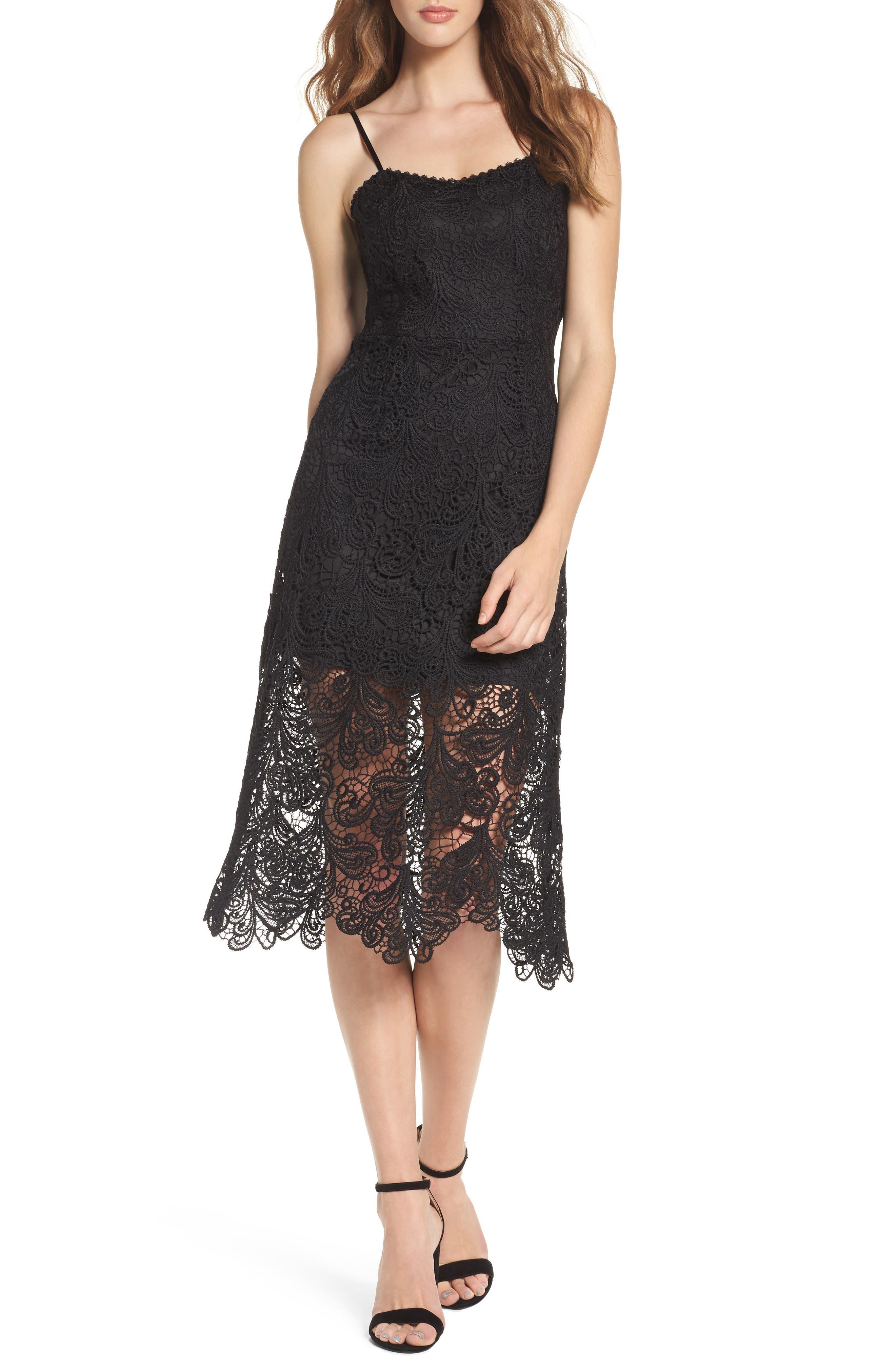 Lace Midi Dress,                         Main,                         color, Black