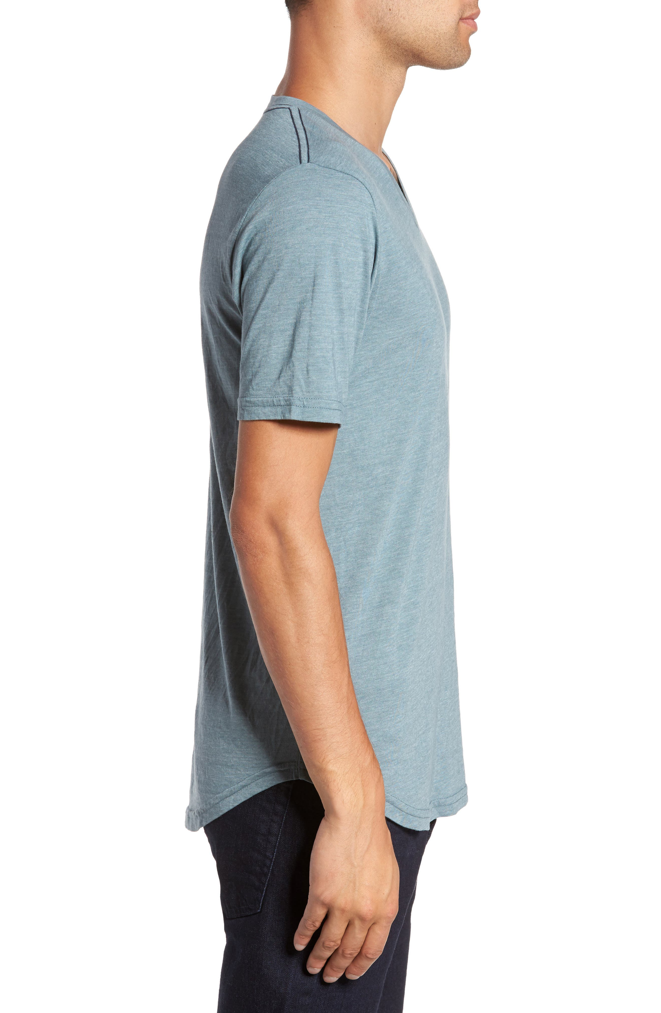 Scallop Triblend V-Neck T-Shirt,                             Alternate thumbnail 3, color,                             Real Teal