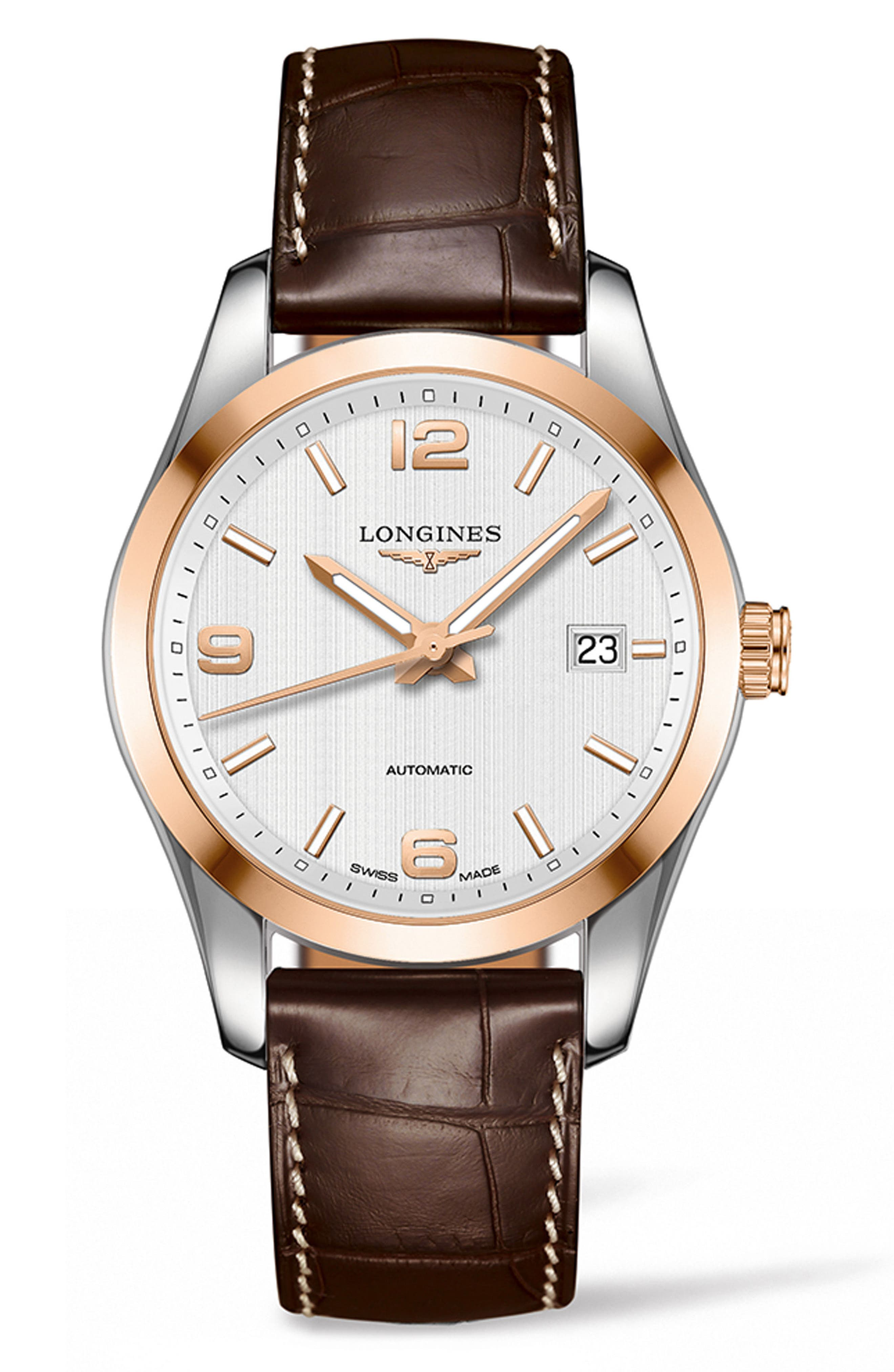 Alternate Image 1 Selected - Longines Conquest Classic Automatic Leather Strap Watch, 40mm