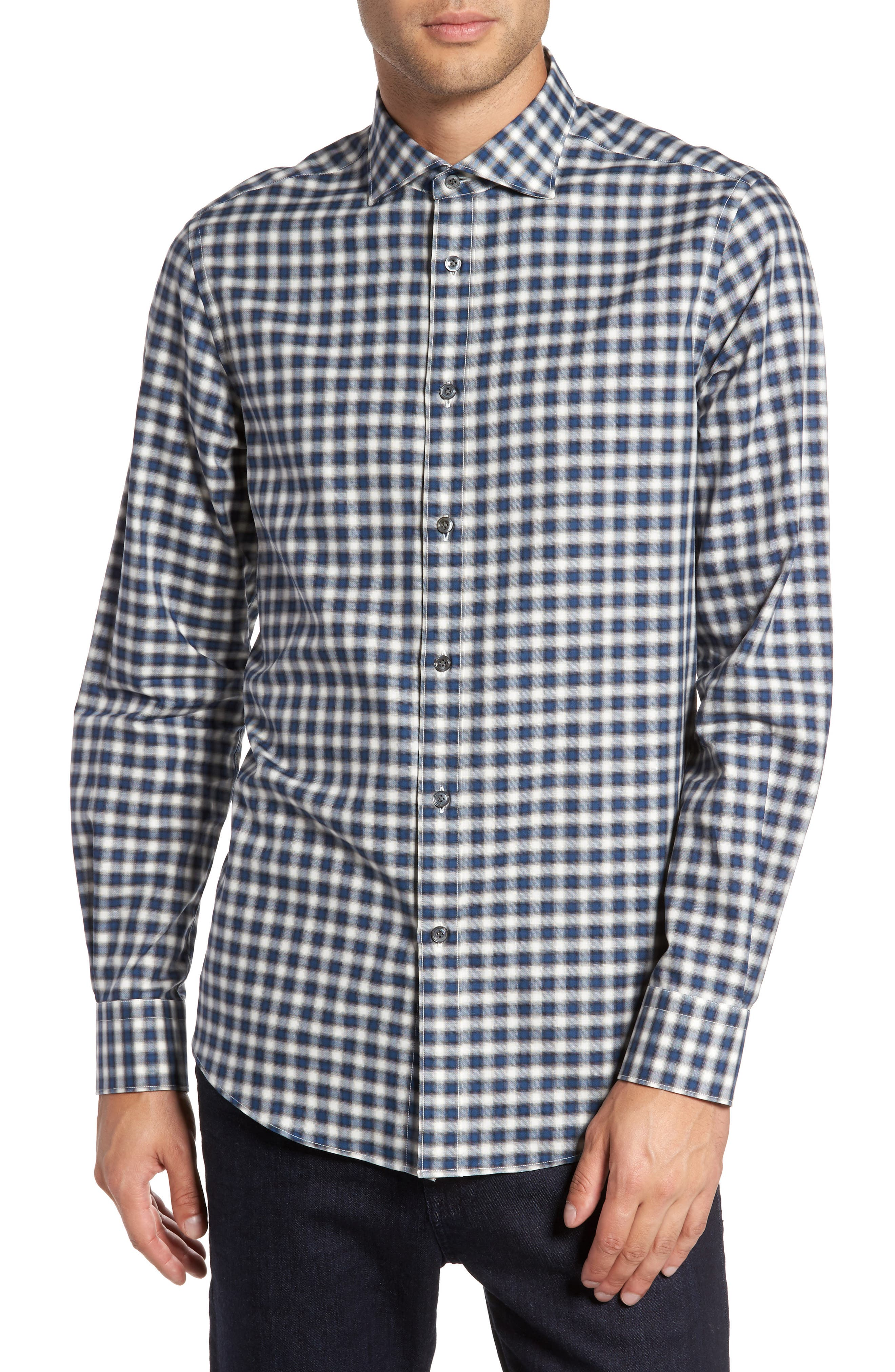 Pal Zileri Fade Out Gingham Sport Shirt