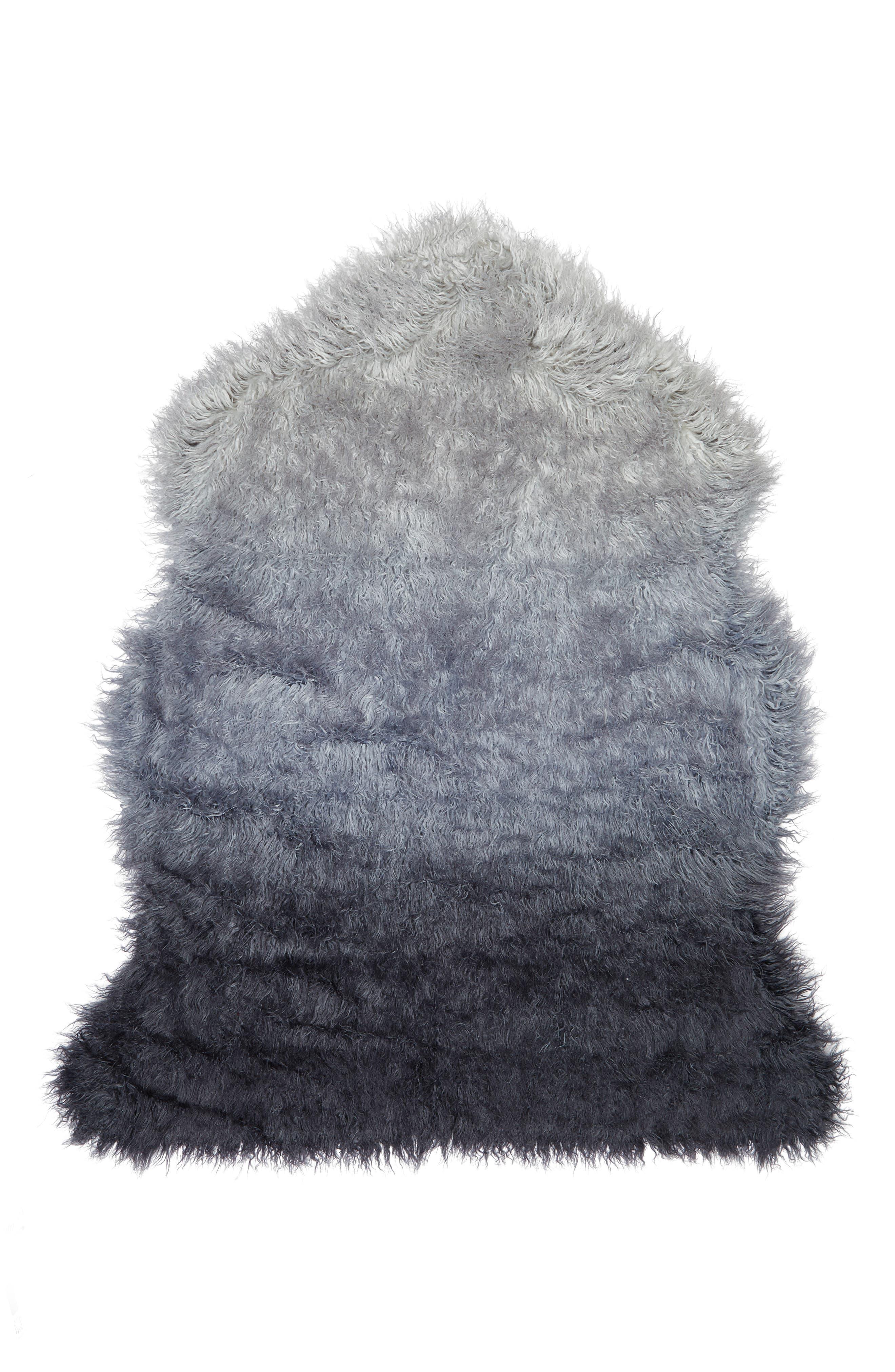 Ombré Faux Fur Rug,                         Main,                         color, Navy Armada