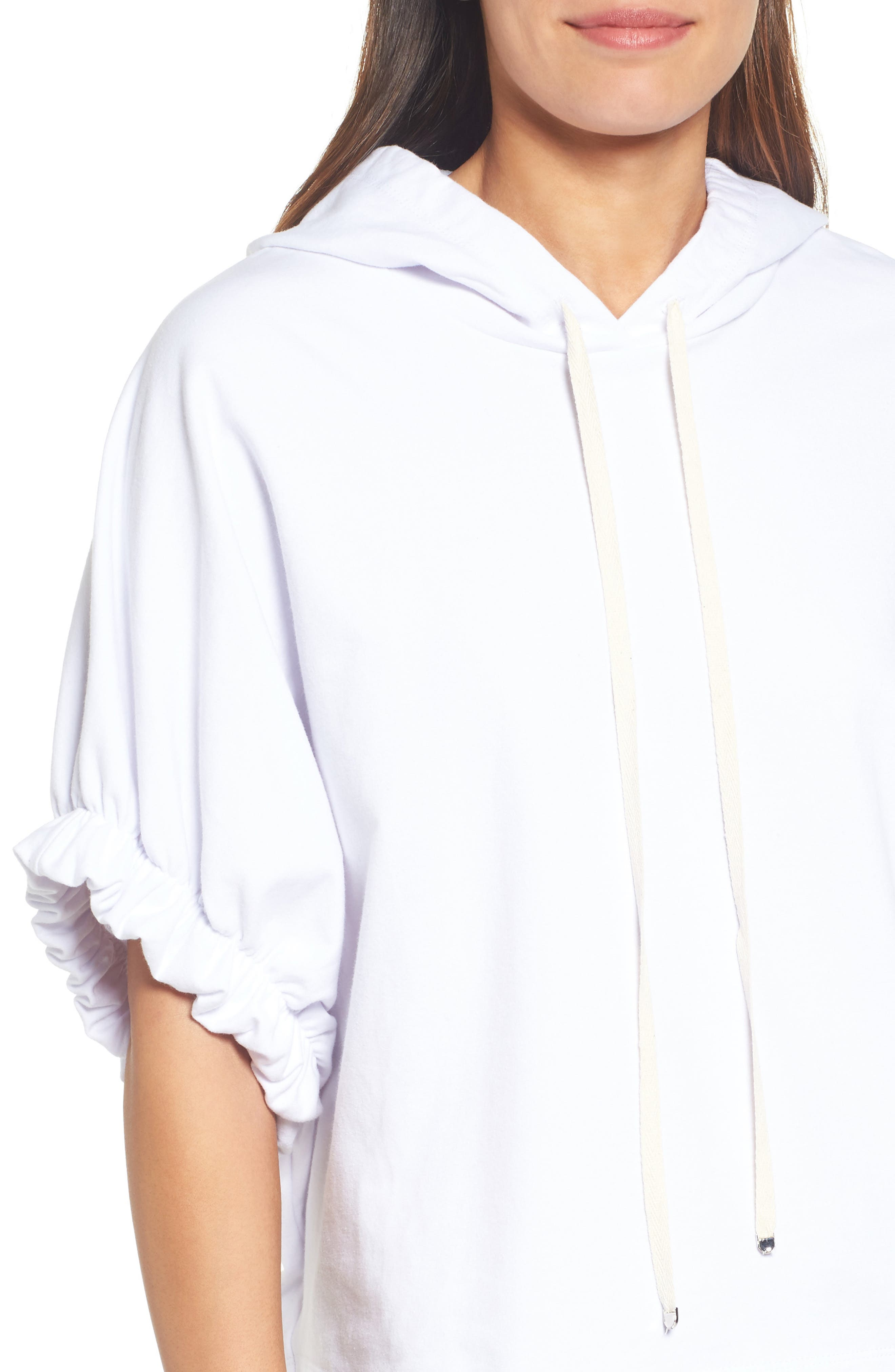 Gathered Sleeve Hoodie,                             Alternate thumbnail 4, color,                             White