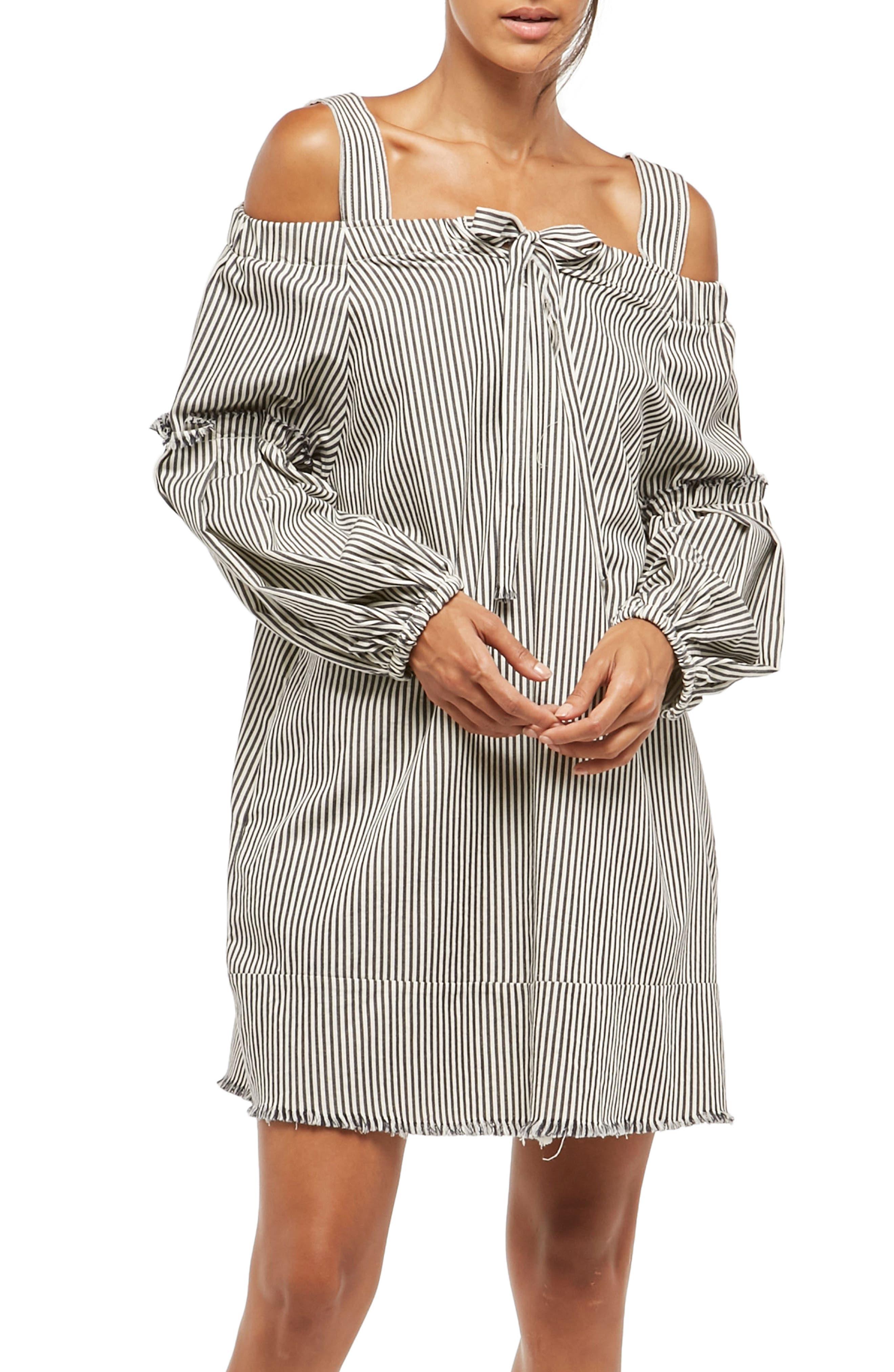 Alpha & Omega Stripe Off the Shoulder Dress,                         Main,                         color, Black