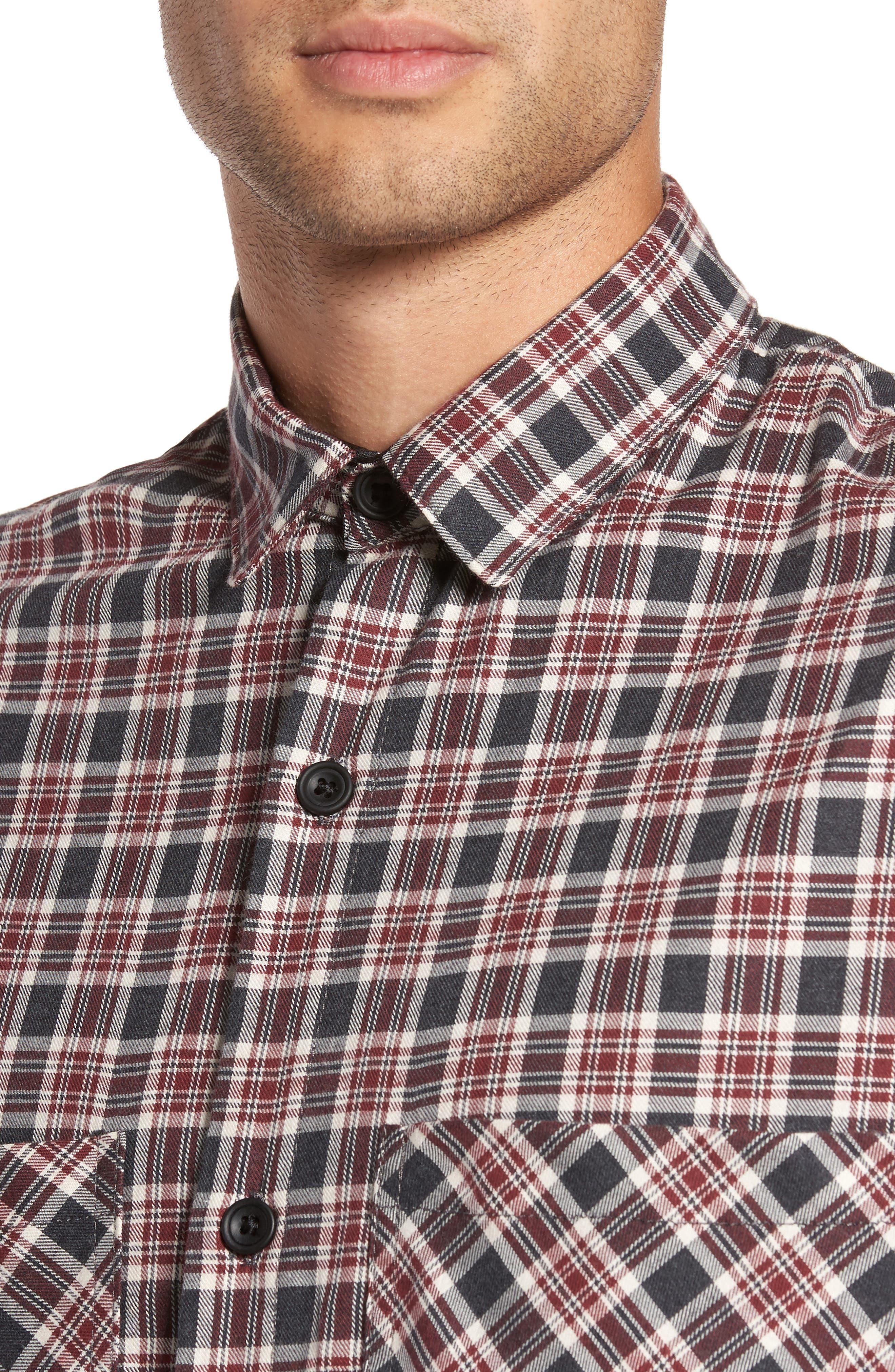 Standard Fit Plaid Sport Shirt,                             Alternate thumbnail 4, color,                             Huckleberry