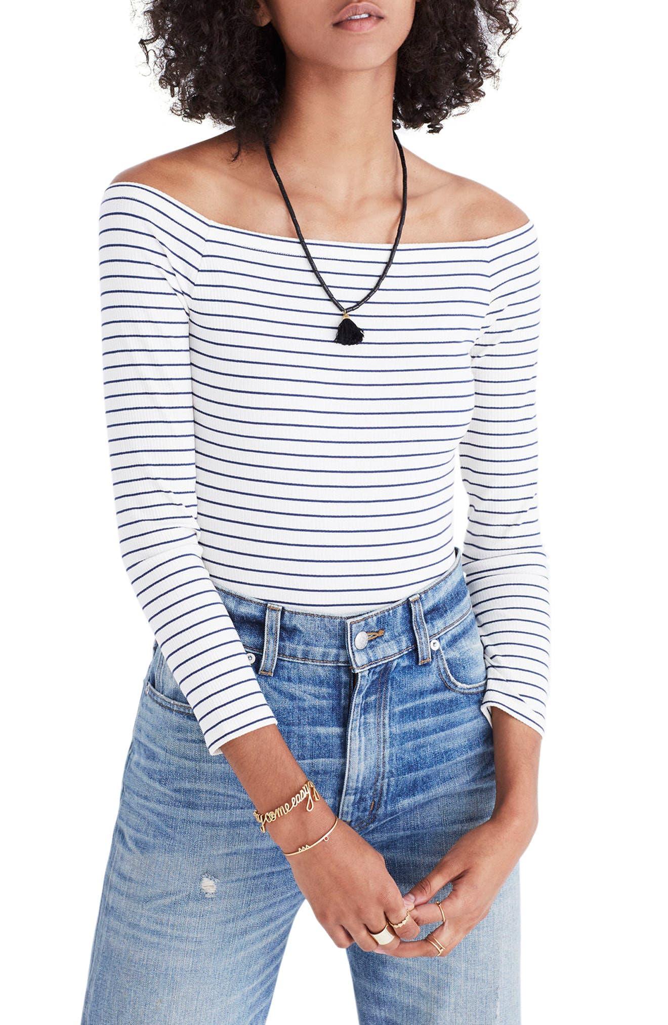 Madewell Stripe Off the Shoulder Bodysuit
