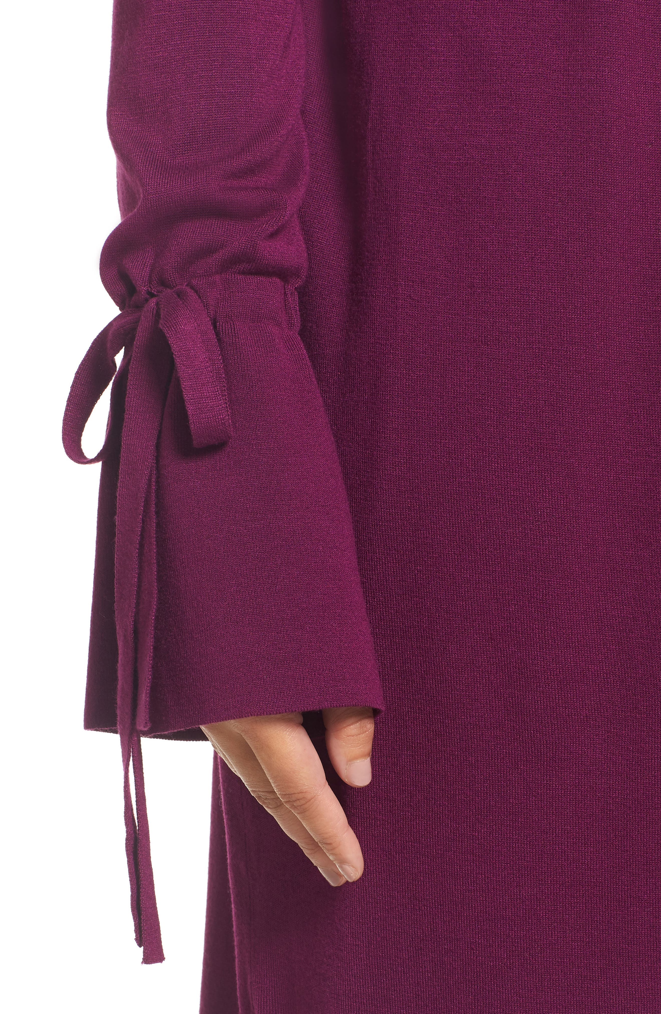 Lightweight Tie Sleeve Cardigan,                             Alternate thumbnail 4, color,                             Purple Dark