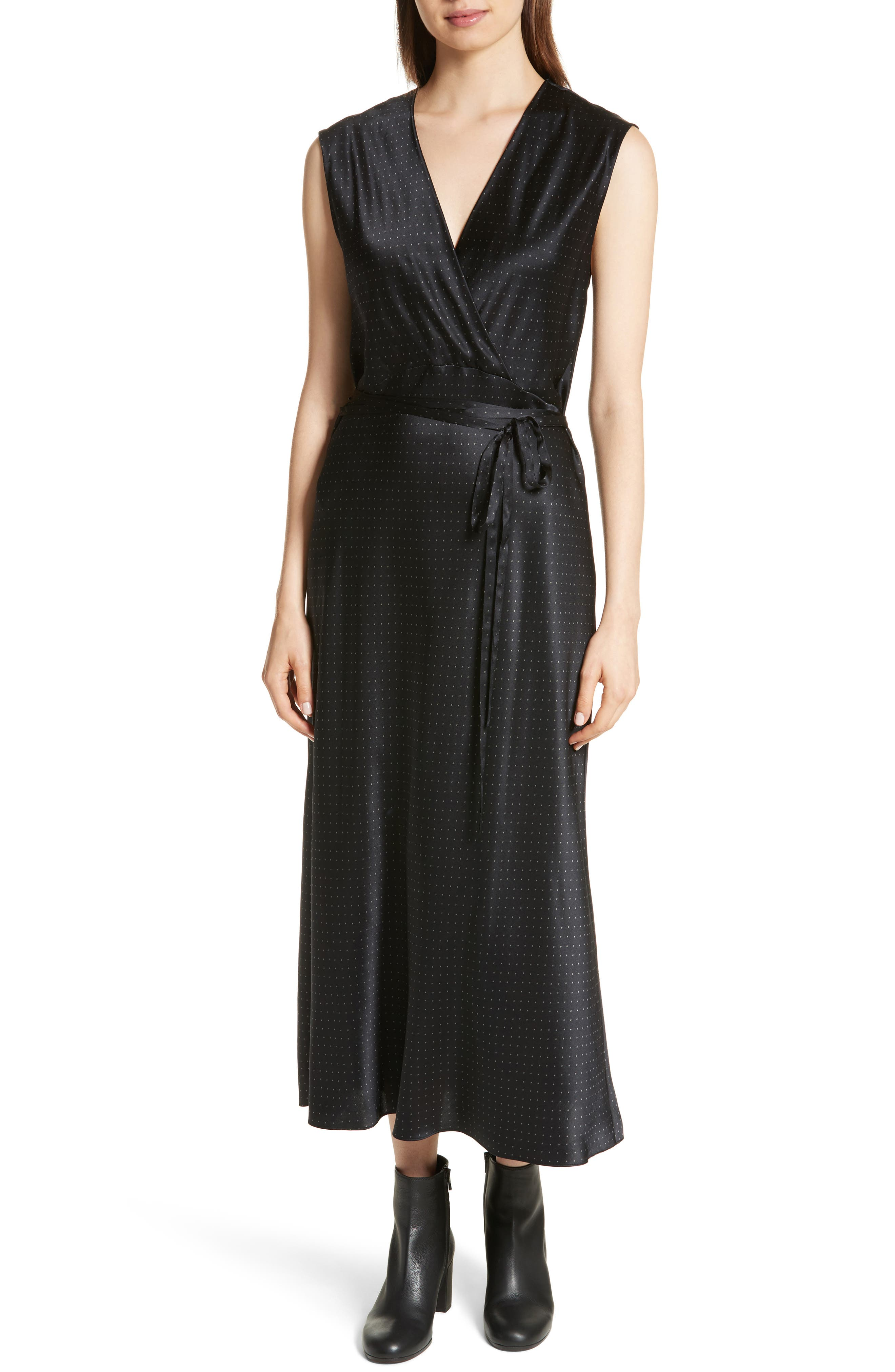 Vintage Polka Dot Faux Wrap Silk Dress,                         Main,                         color, Black/ Frog