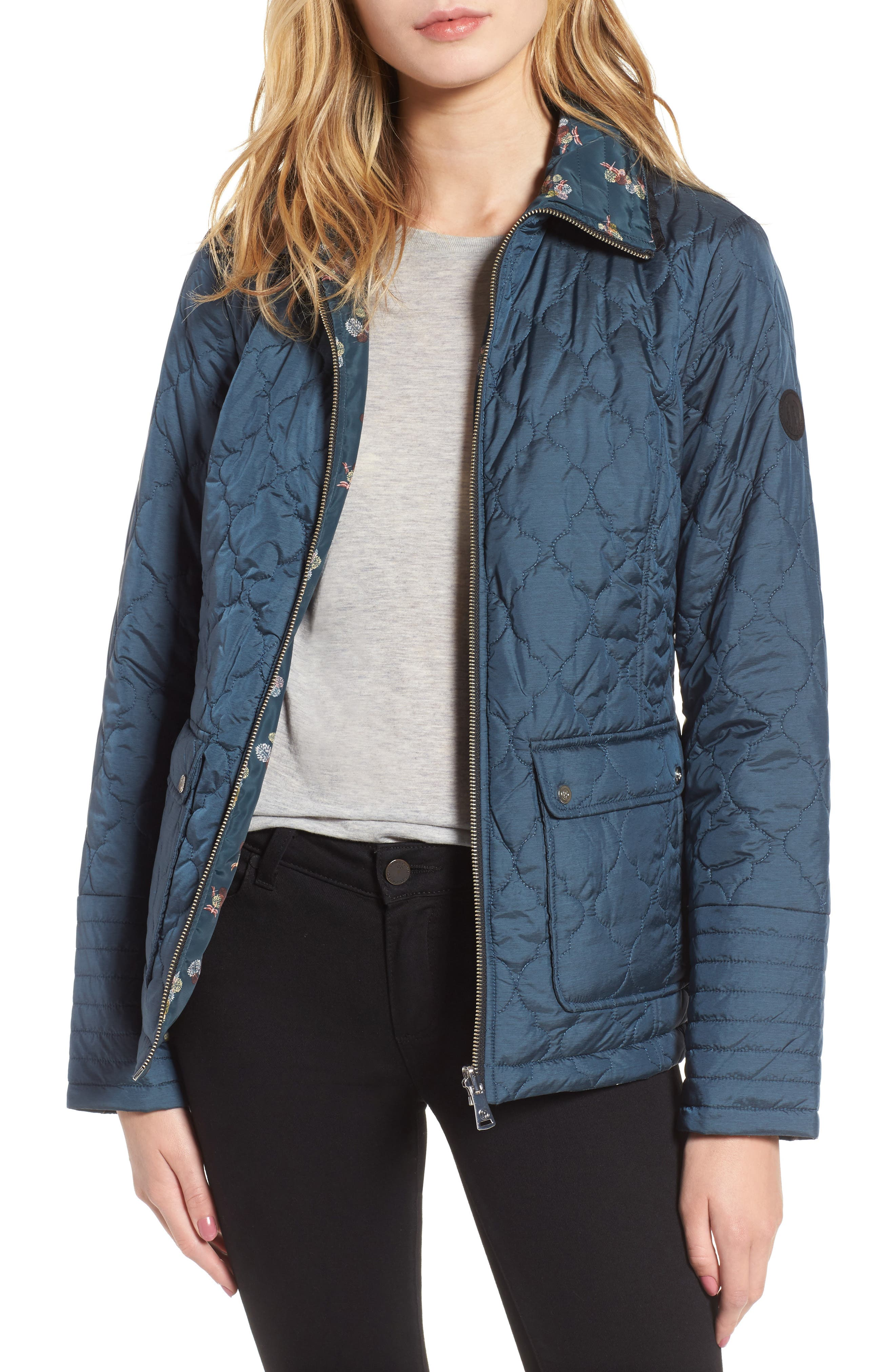 Reversible Insulated Quilted Jacket,                         Main,                         color, Pacific