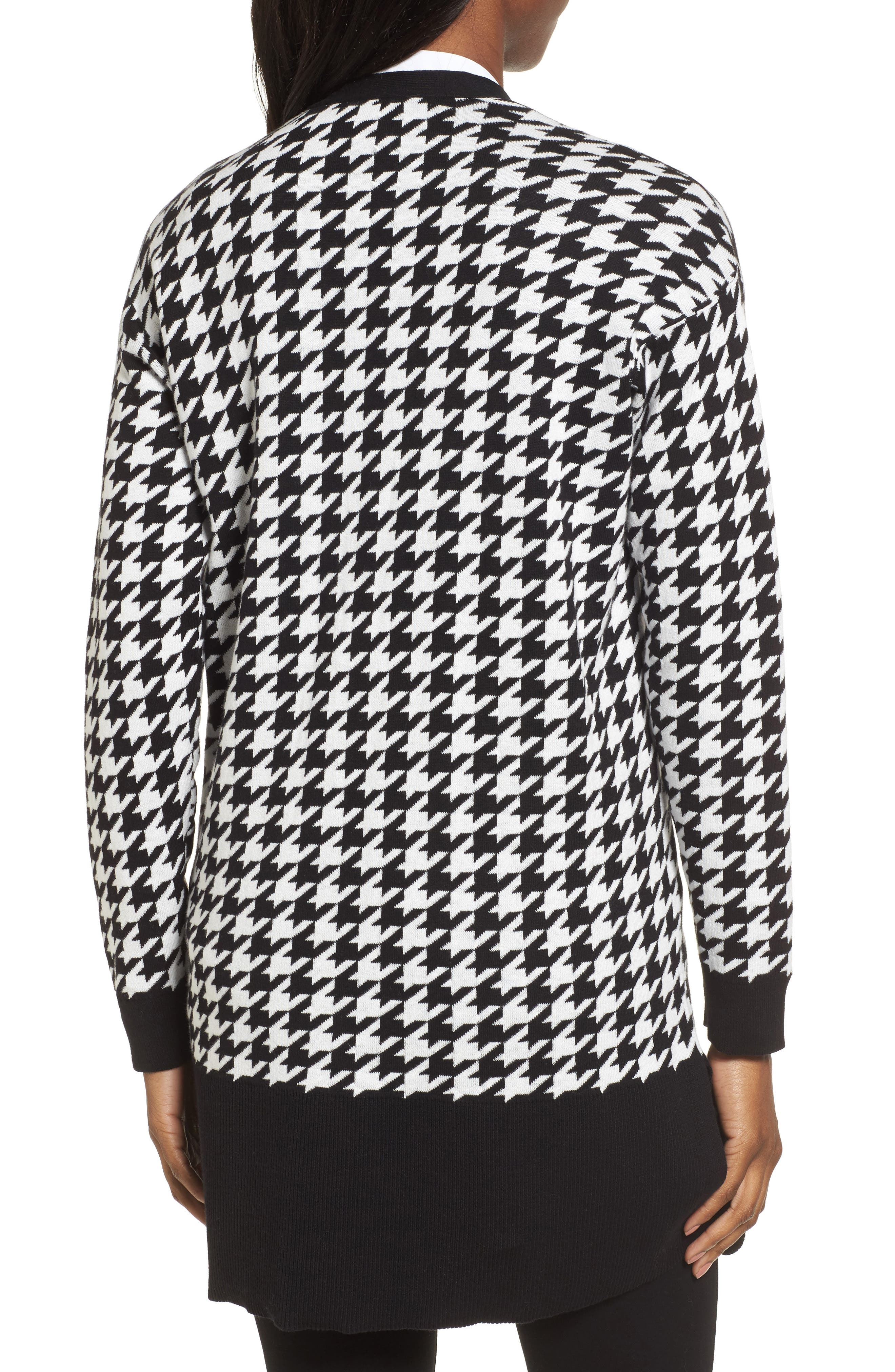 Houndstooth Cardigan,                             Alternate thumbnail 2, color,                             Rich Black