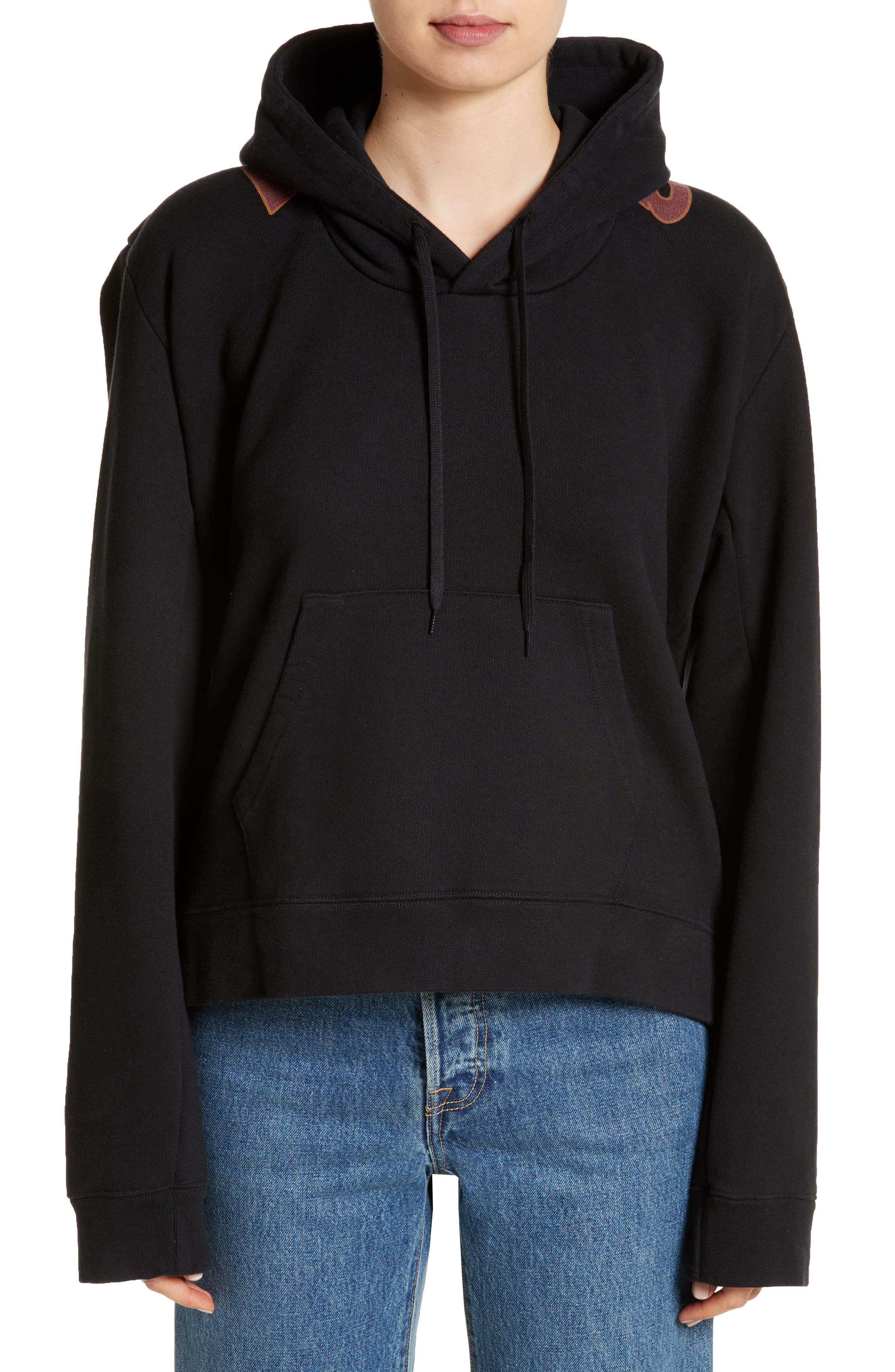 Misplaced Logo Hoodie,                             Main thumbnail 1, color,                             Black/ Print