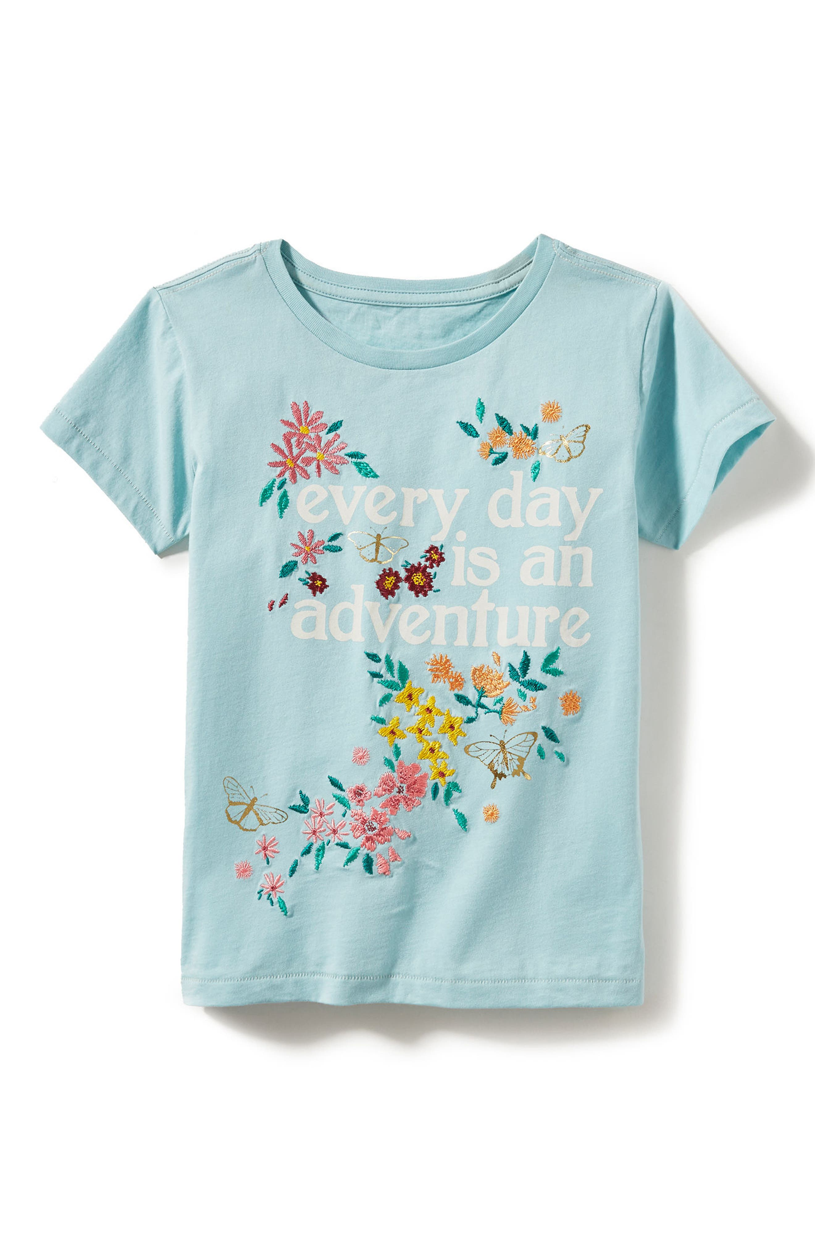 Main Image - Peek Adventure Embroidered Tee (Toddler Girls, Little Girls & Big Girls)
