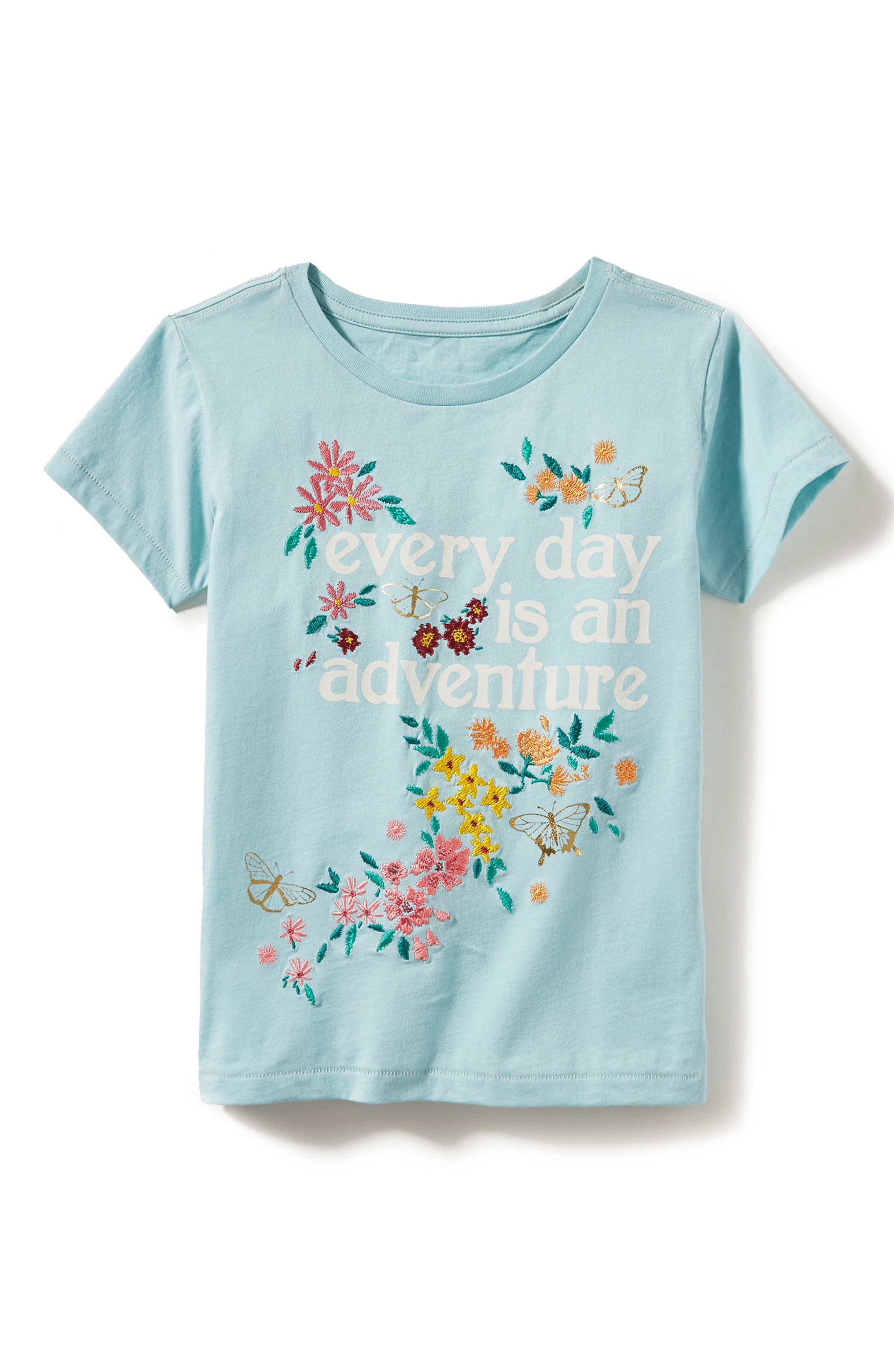 Peek Adventure Embroidered Tee (Toddler Girls, Little Girls & Big Girls)