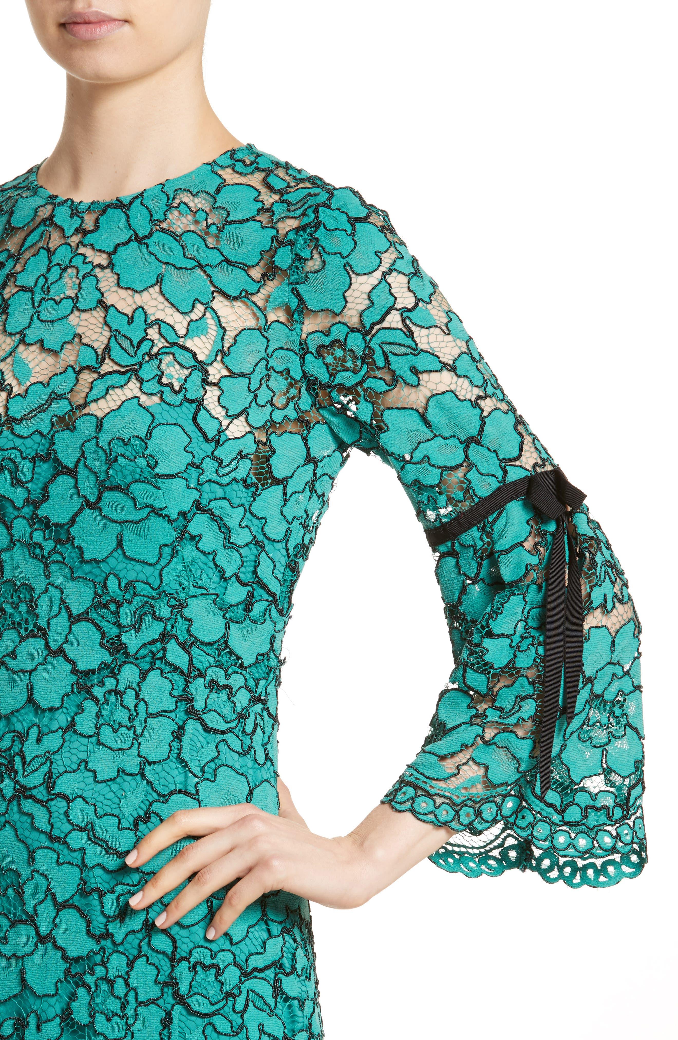 Lace Bell Sleeve Sheath Dress,                             Alternate thumbnail 6, color,                             Jade